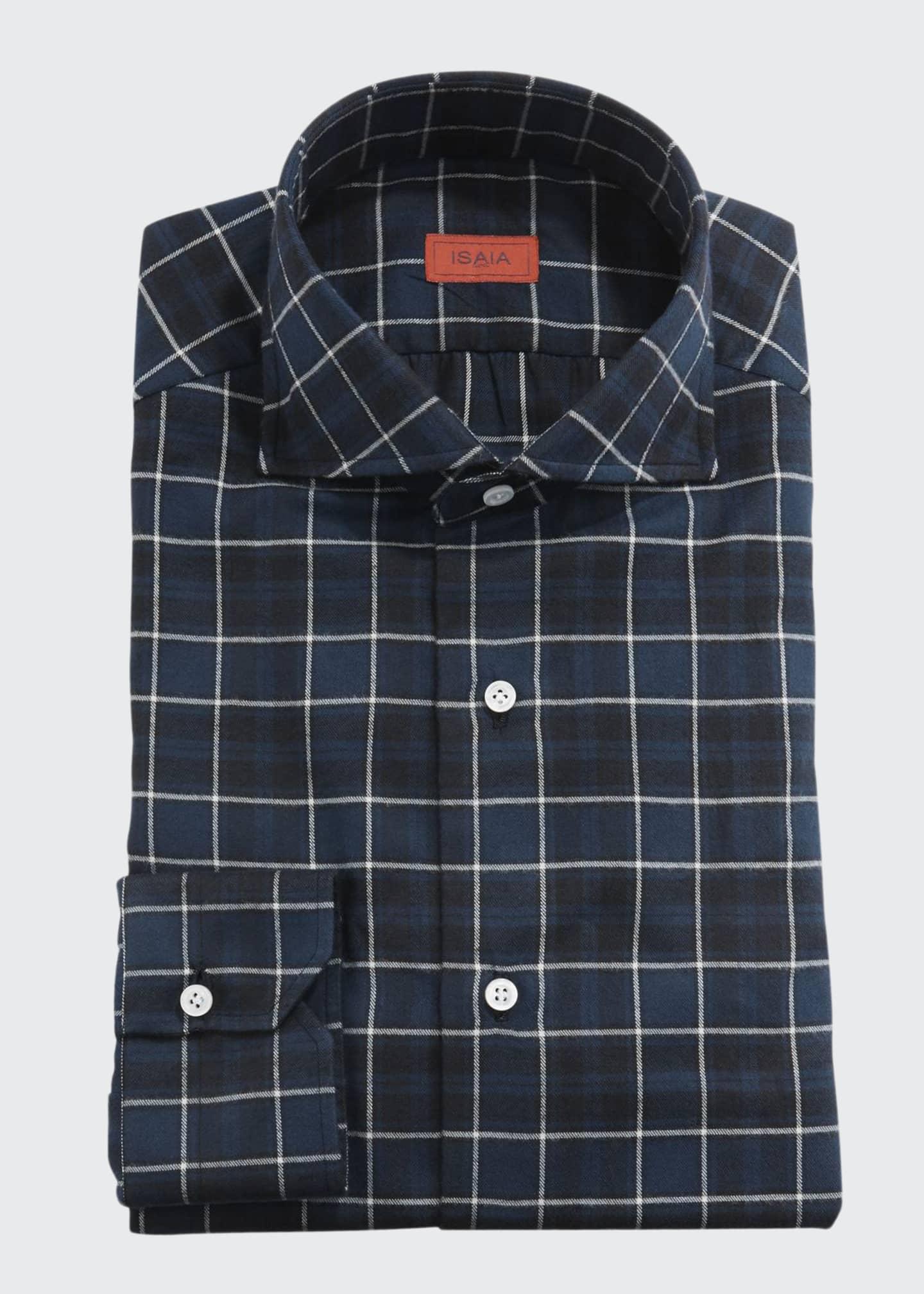 Isaia Men's Check Cotton Dress Shirt