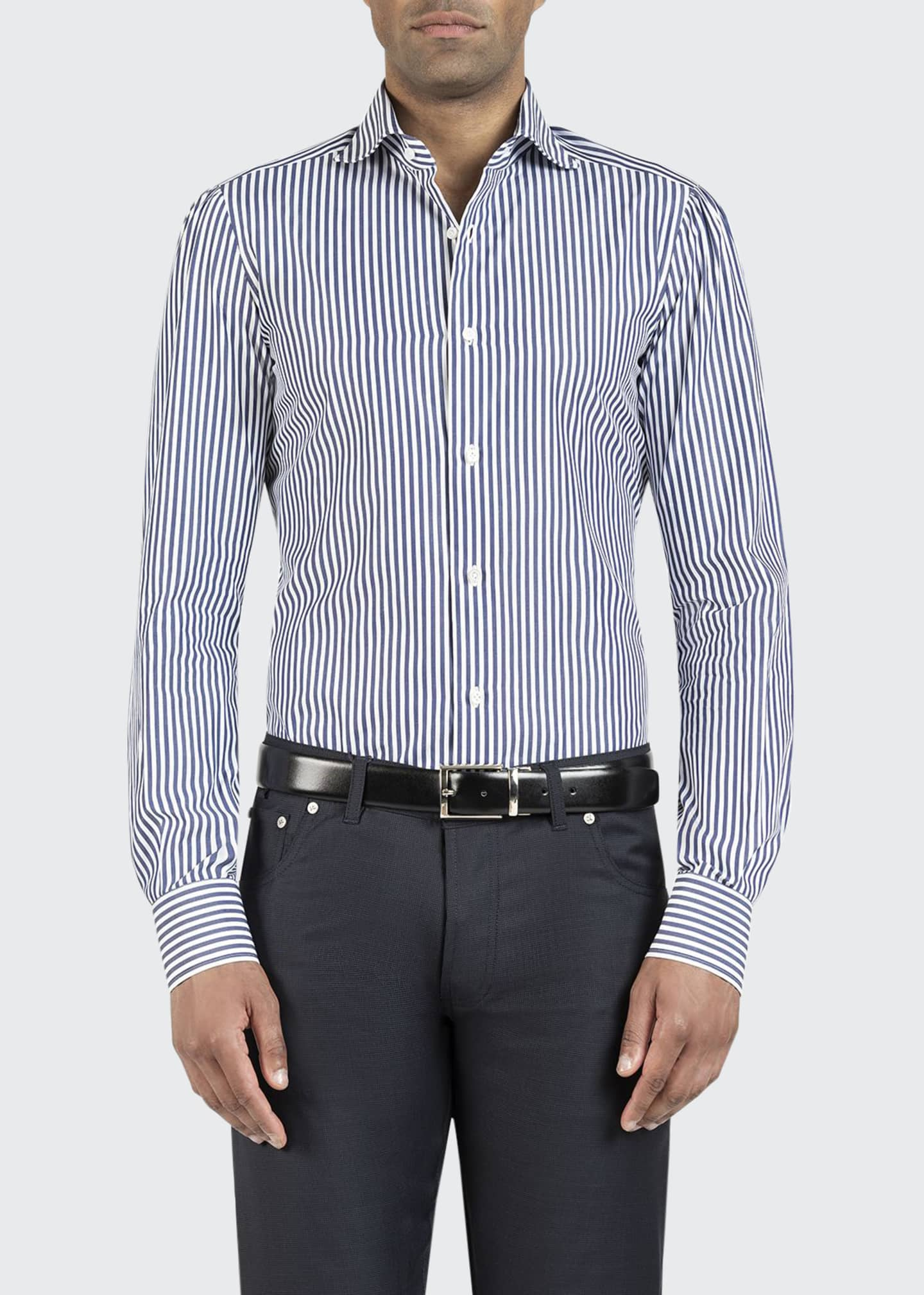 Image 1 of 2: Men's Bengal-Striped Dress Shirt