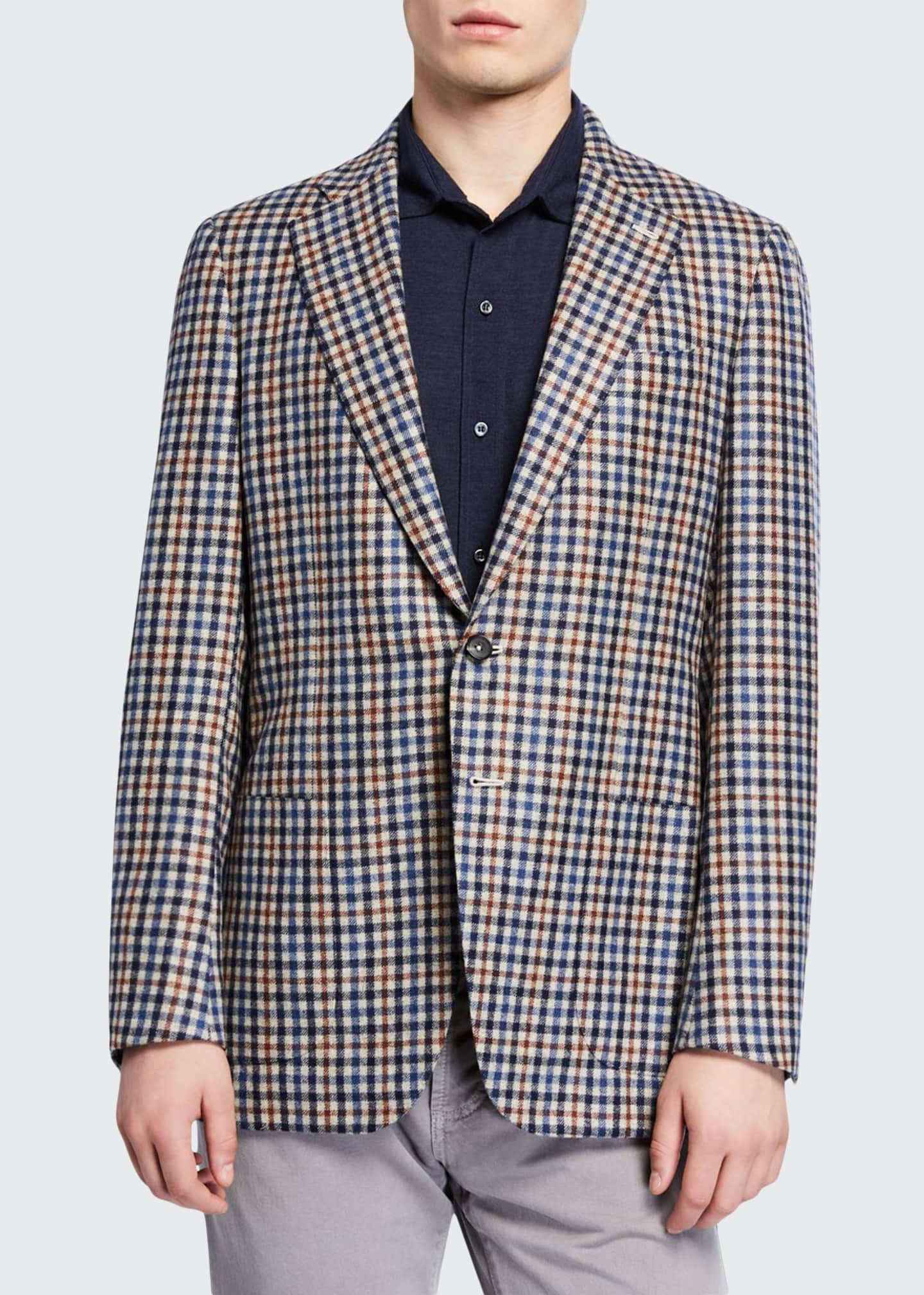 Isaia Men's Check Two-Button Jacket