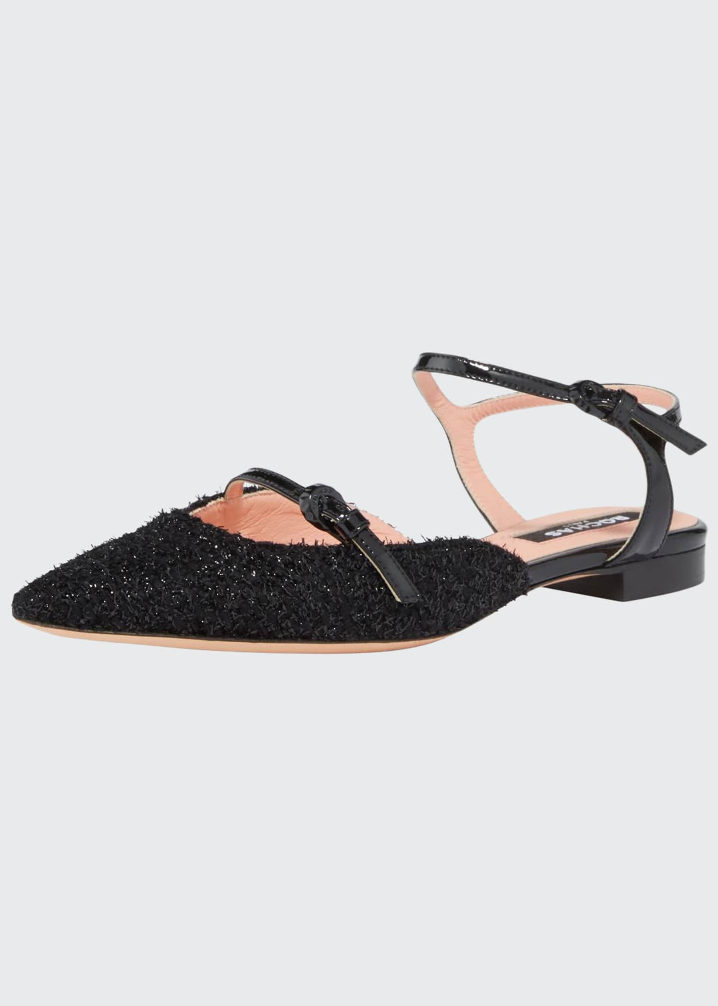 Rochas Double Strap Frayed Flats