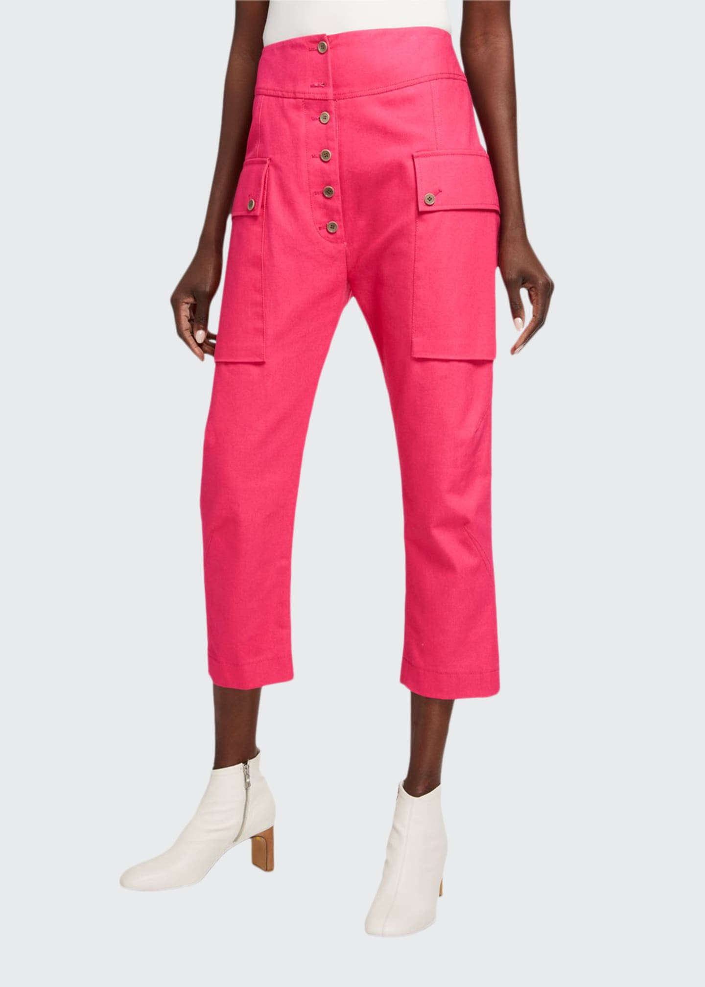 Image 1 of 3: Cotton Cropped Cargo Pants