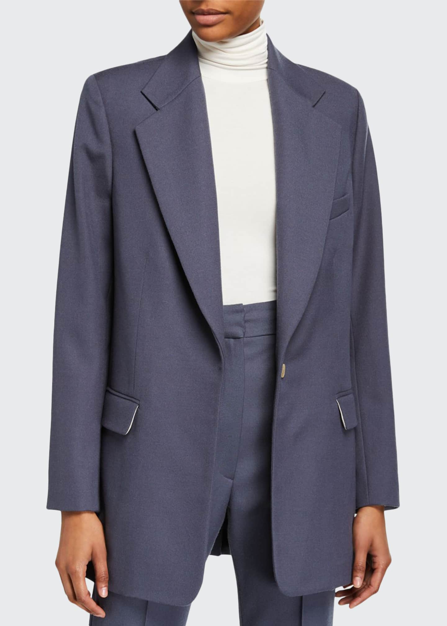 Image 1 of 3: Wool-Blend Oversized Boxy Suit Jacket