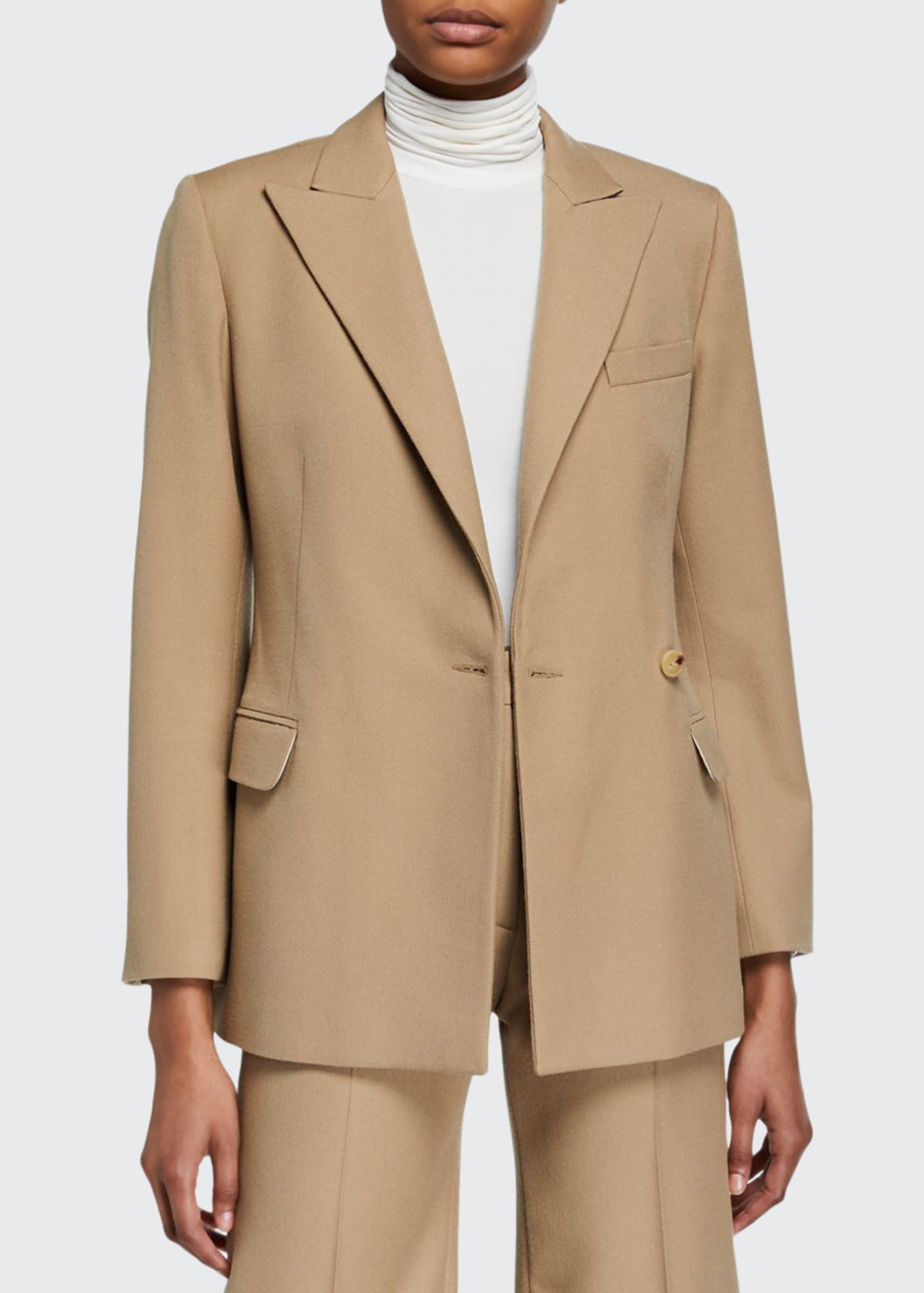 Image 1 of 3: Cinched Wool-Blend Suit Jacket