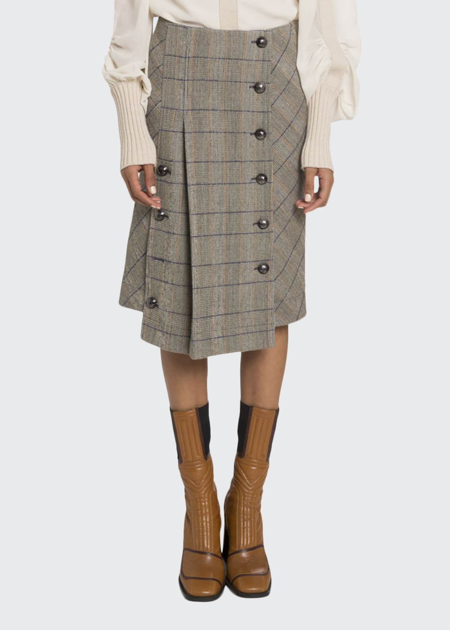 Chloe Button-Front Pleated Skirt