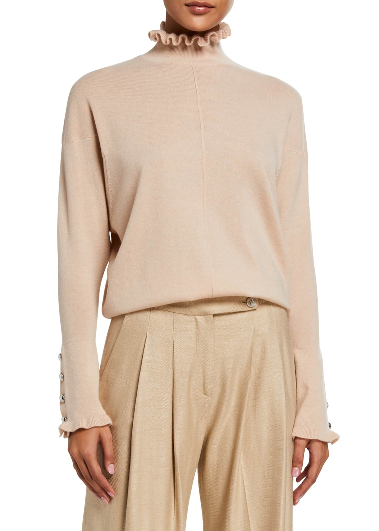 Chloe Cashmere Frill High-Neck Sweater