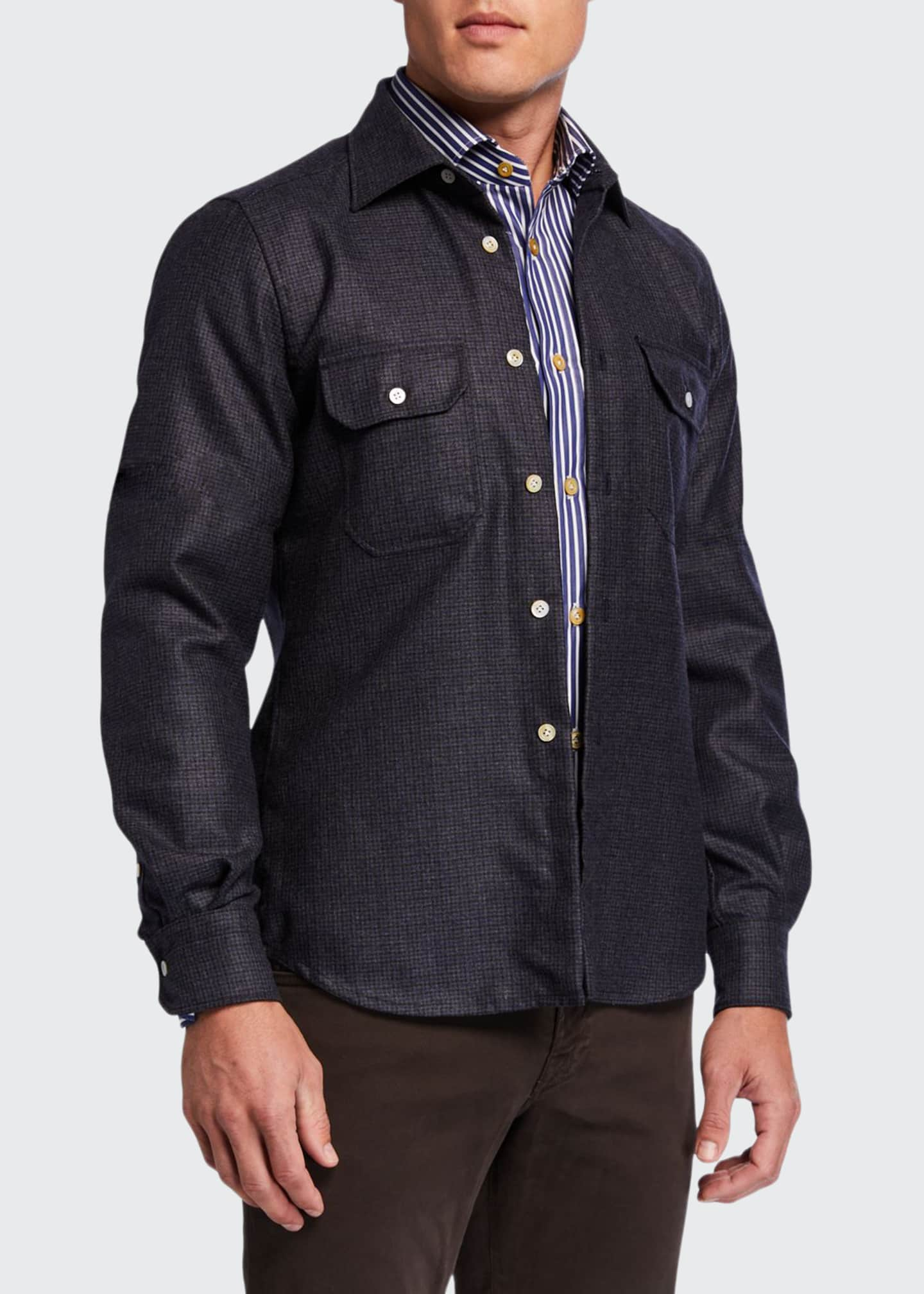 Image 1 of 4: Men's Houndstooth Wool Overshirt