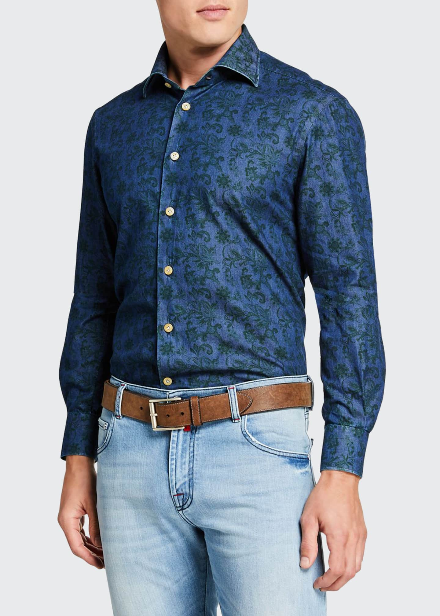 Image 1 of 3: Men's Floral Chambray Sport Shirt