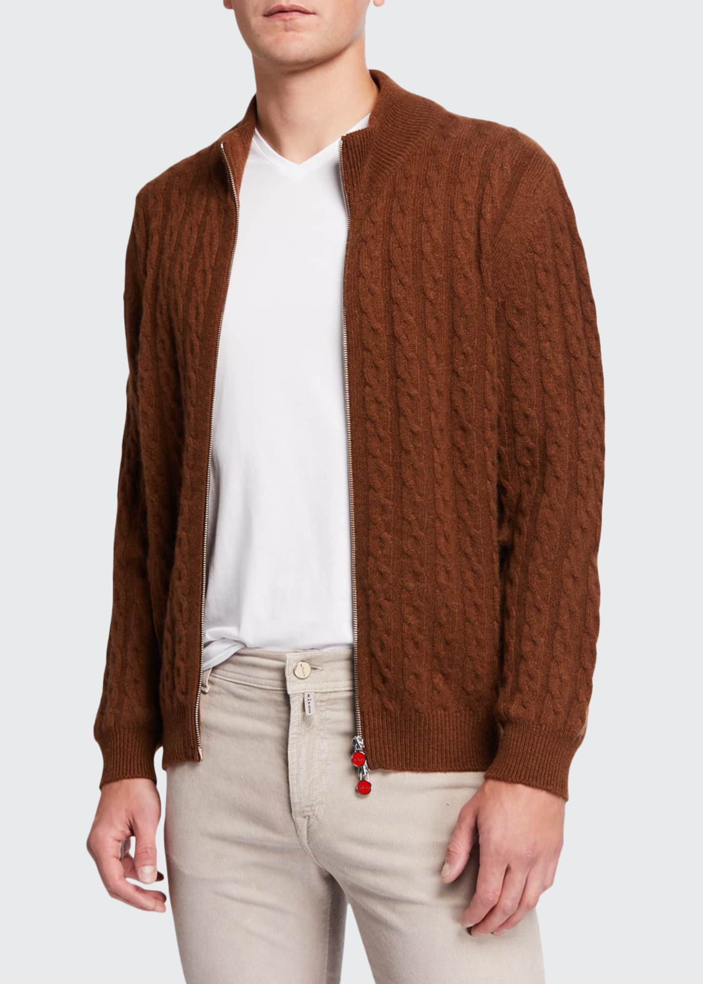 Image 1 of 3: Men's Cable-Knit Two-Way Zip Cardigan Sweater
