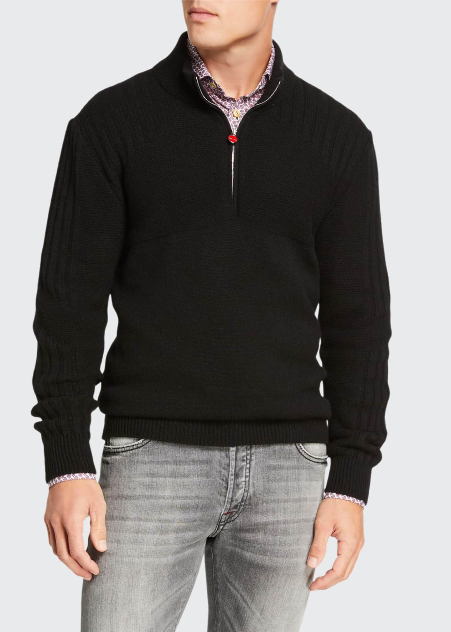 Kiton Men's Quarter-Zip Cashmere Sweater