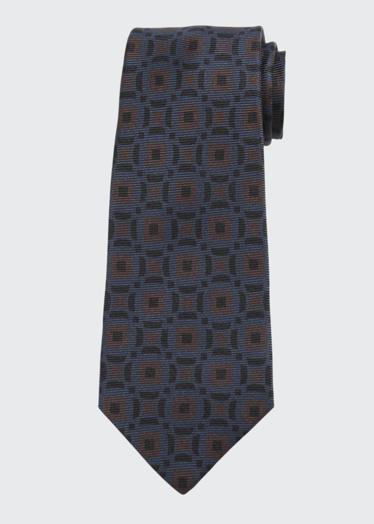 Image 1 of 1: Men's Art Deco Squares Silk Tie, Brown