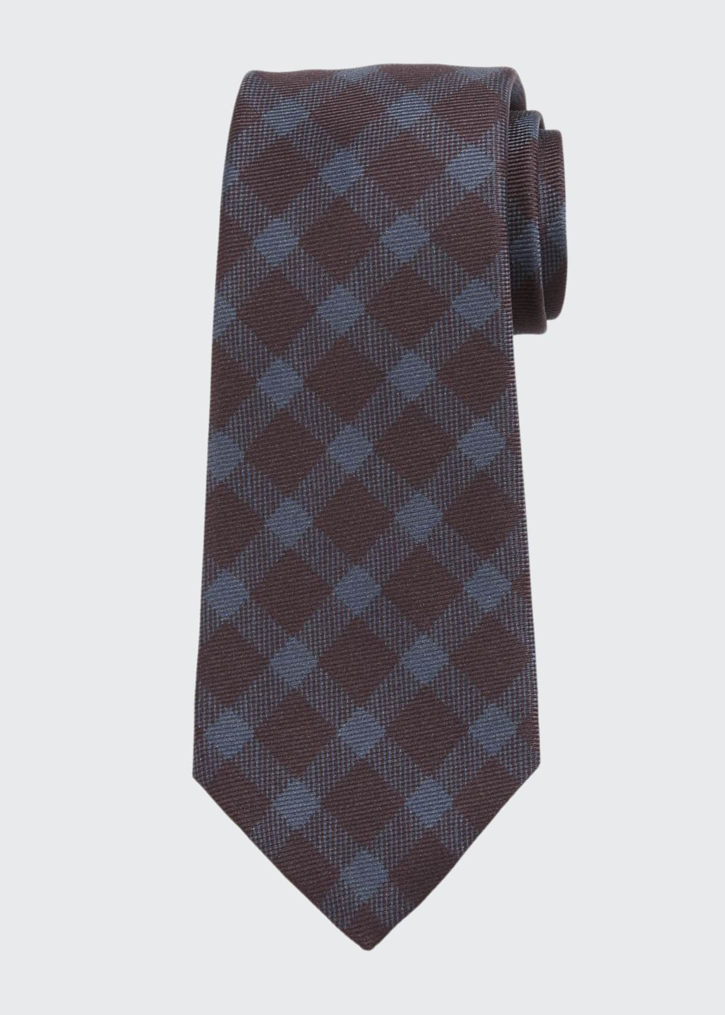 Kiton Men's Gingham Check Silk Tie