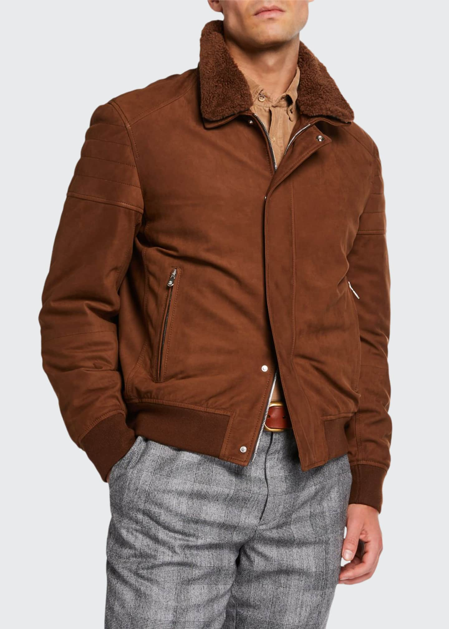 Brunello Cucinelli Men's Suede Moto Jacket with Shearling