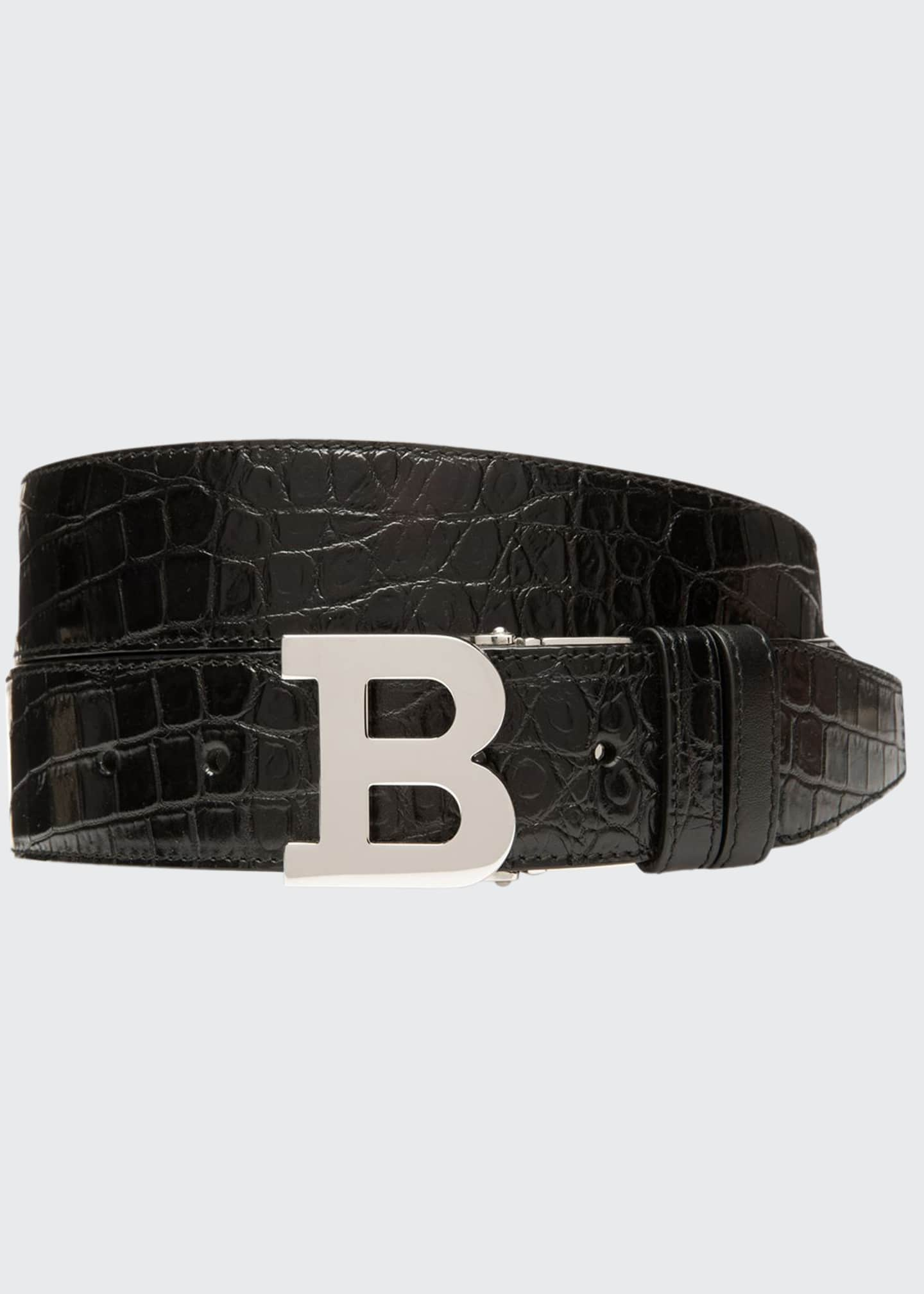 Image 1 of 2: Men's B Buckle Stamped Croc Belt