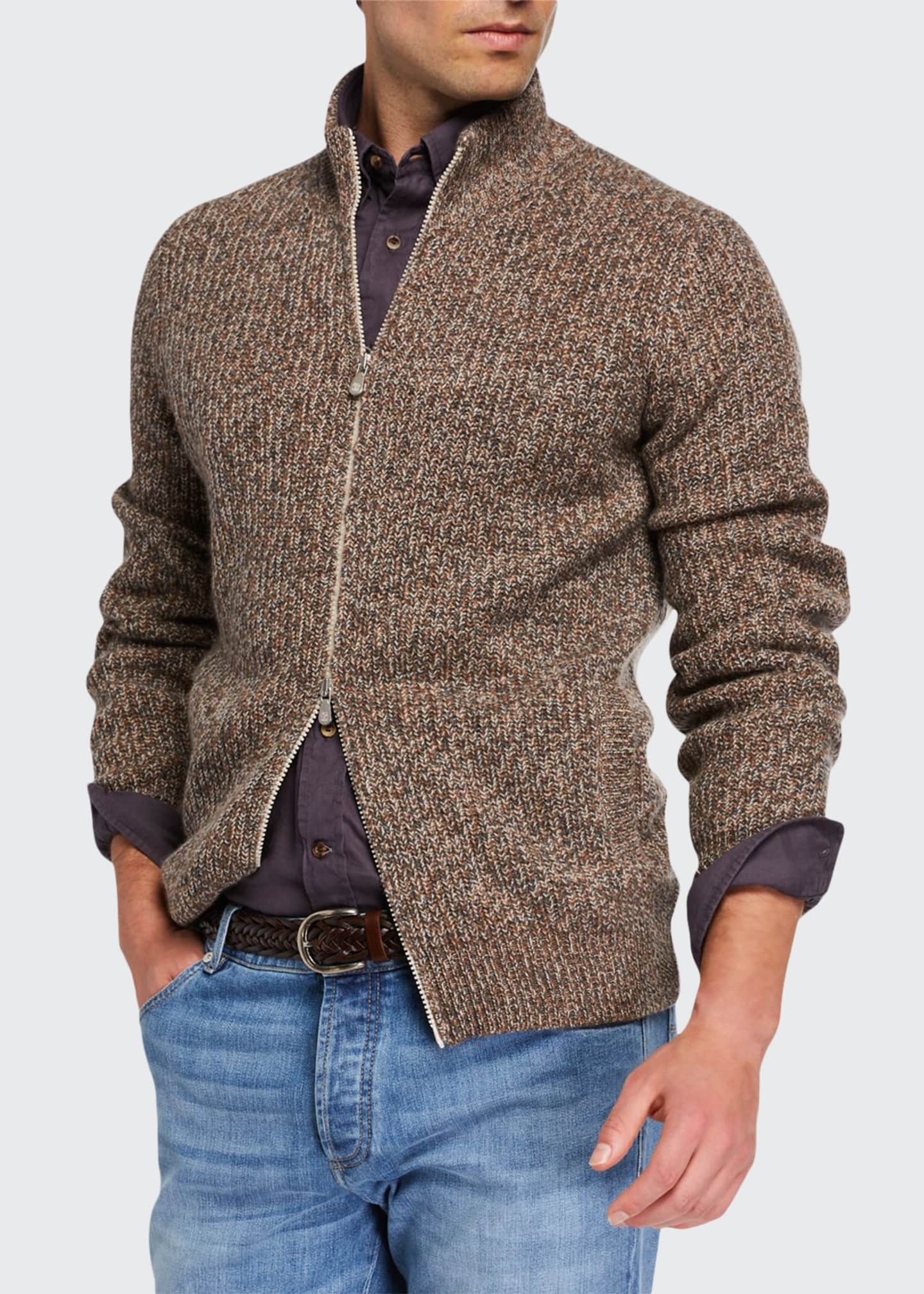 Image 1 of 3: Men's Chunky Donegal Zip-Up Sweater