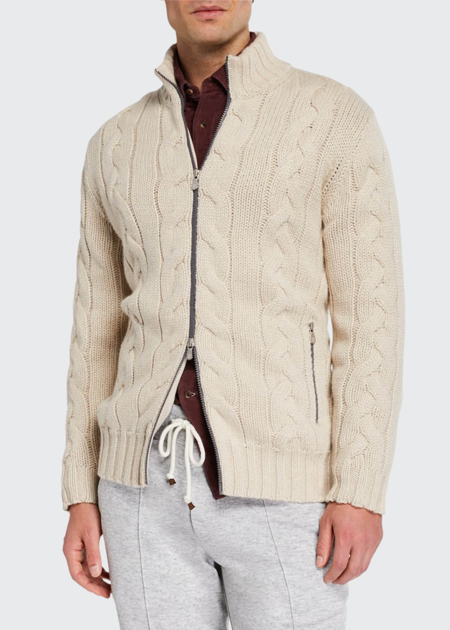 Brunello Cucinelli Men's Cashmere Cable Knit Zip Sweater