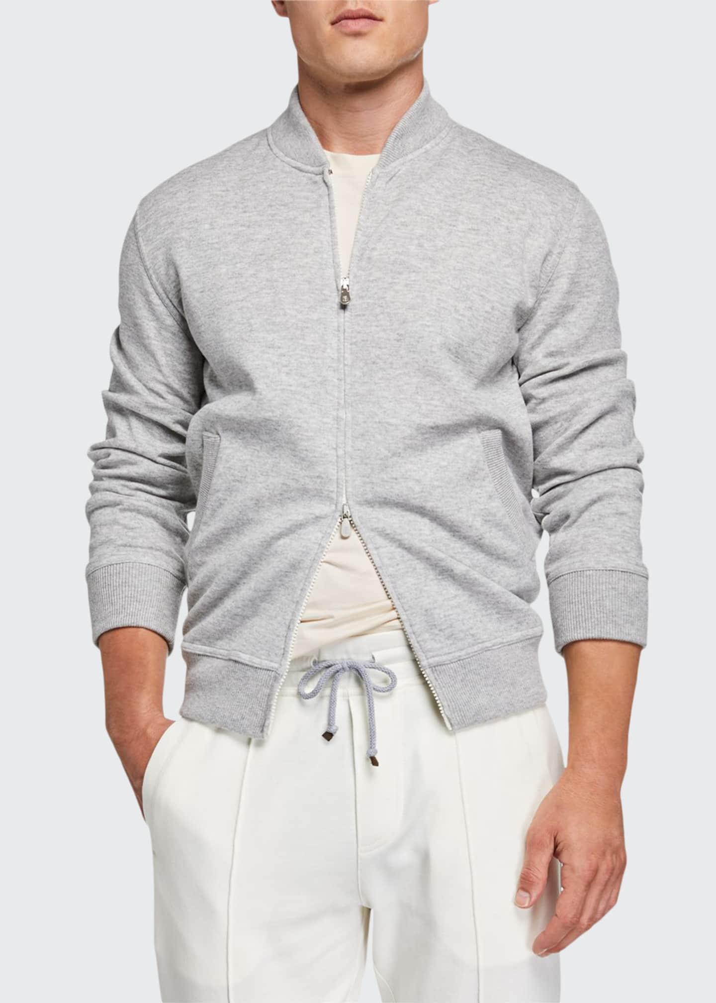 Brunello Cucinelli Men's Zip-Front Cashmere/Cotton Sweatshirt