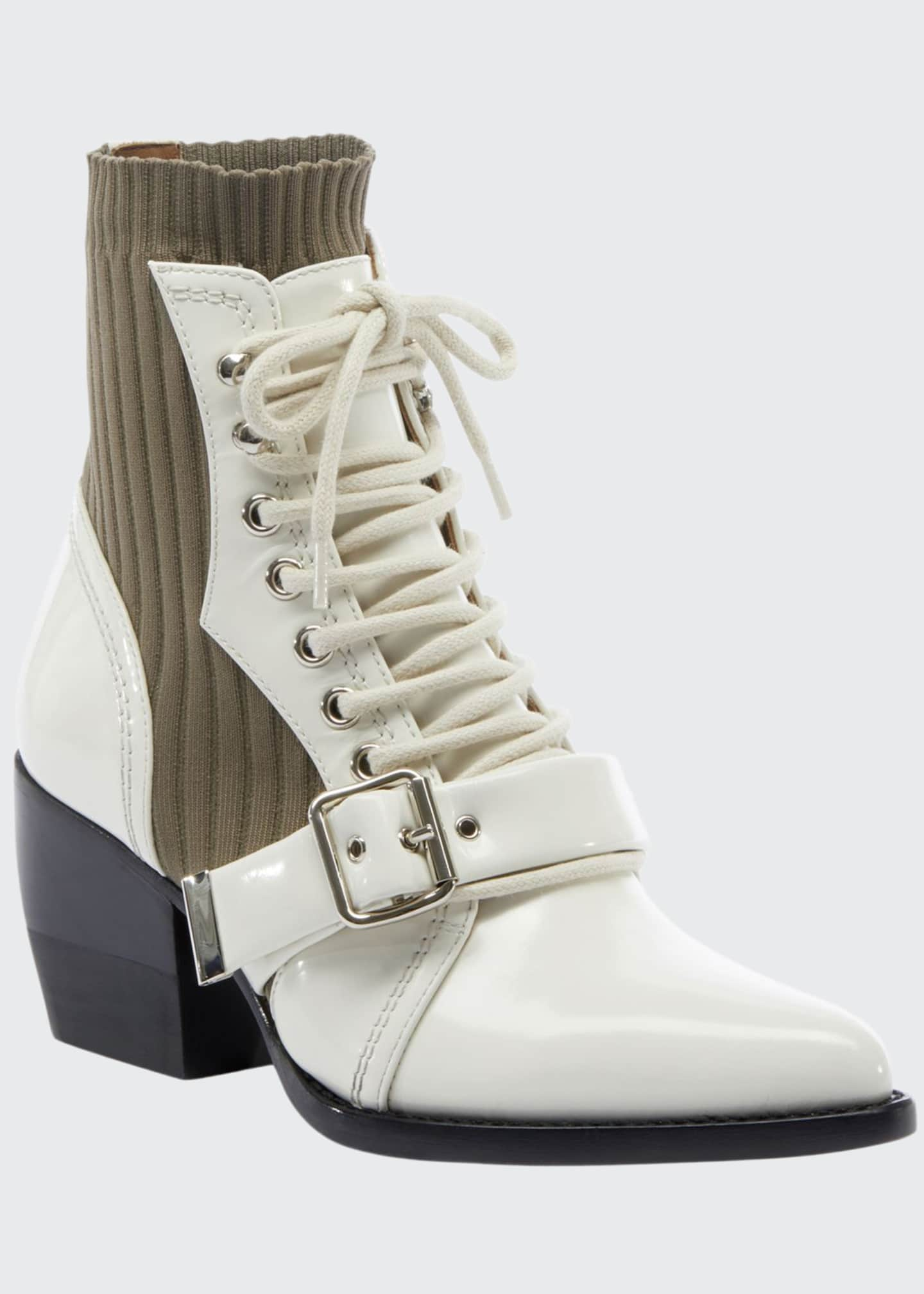 Chloe Rylee Leather and Stretch Booties