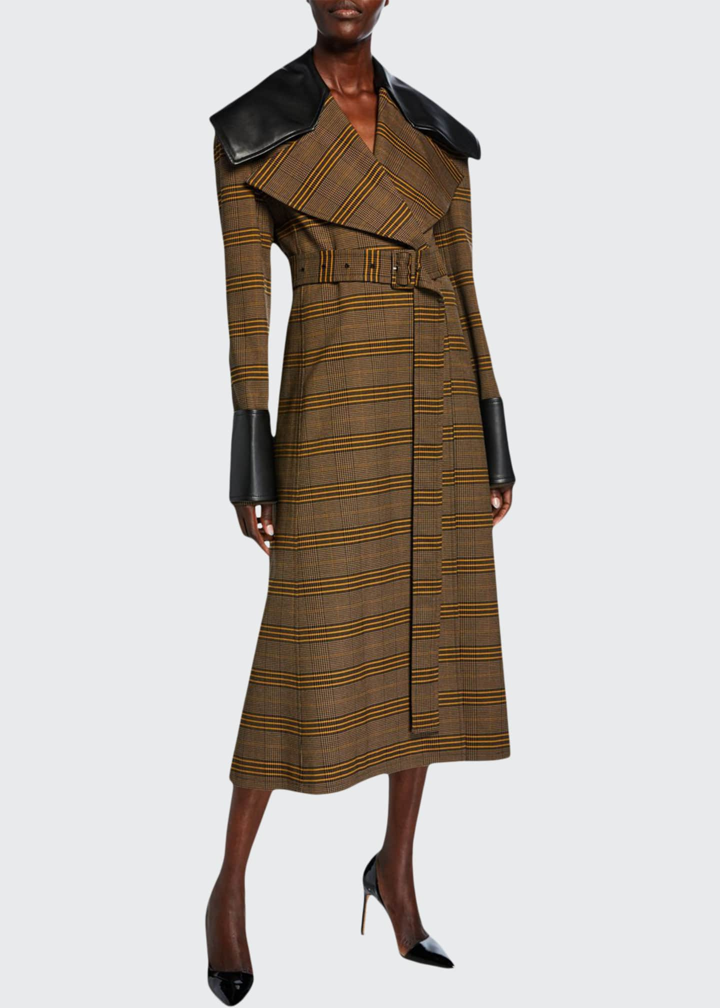 ADEAM Check Faux-Leather Check Trim Belted Coat