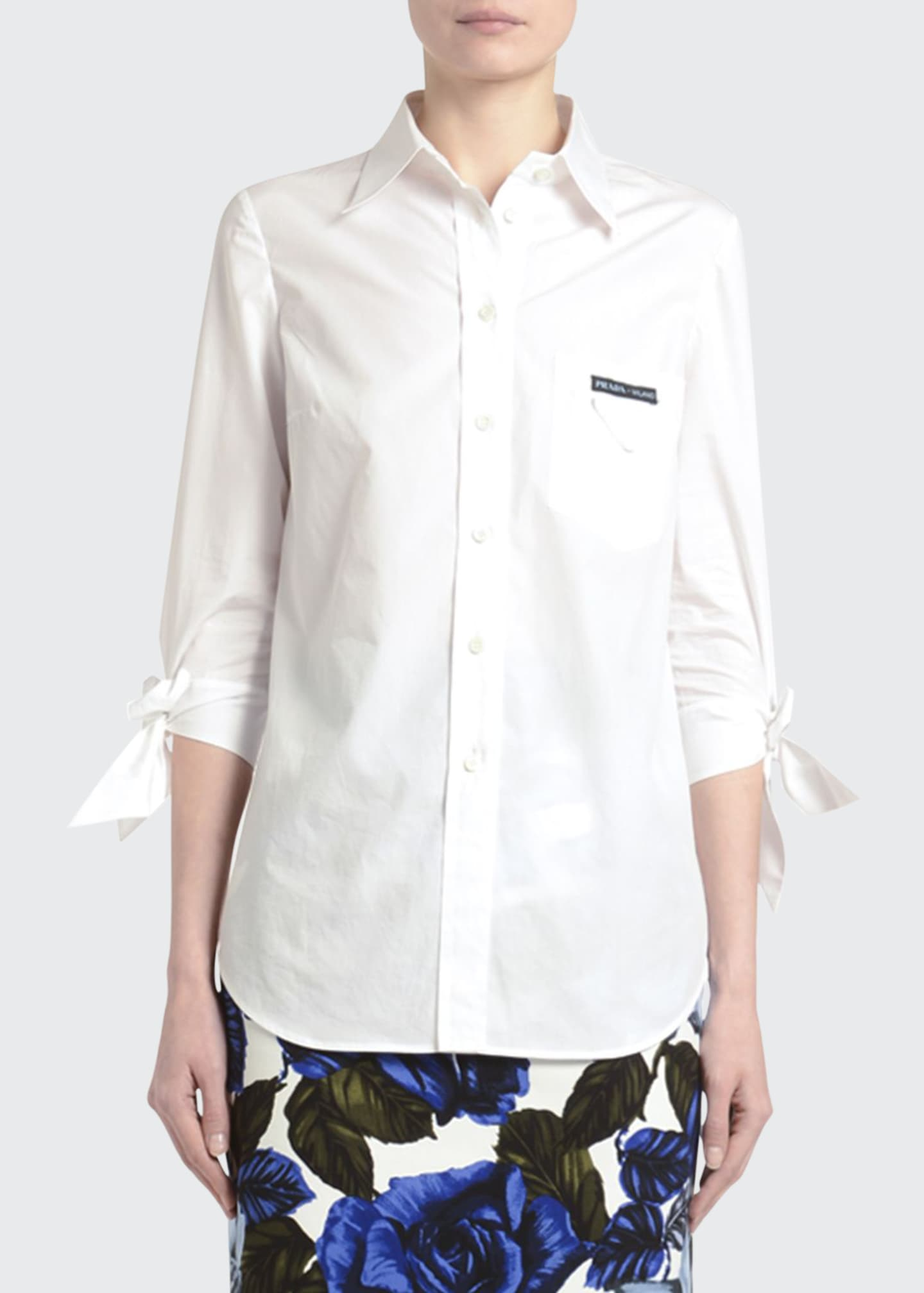 Image 1 of 3: Tie-Sleeve Button-Front Poplin Shirt