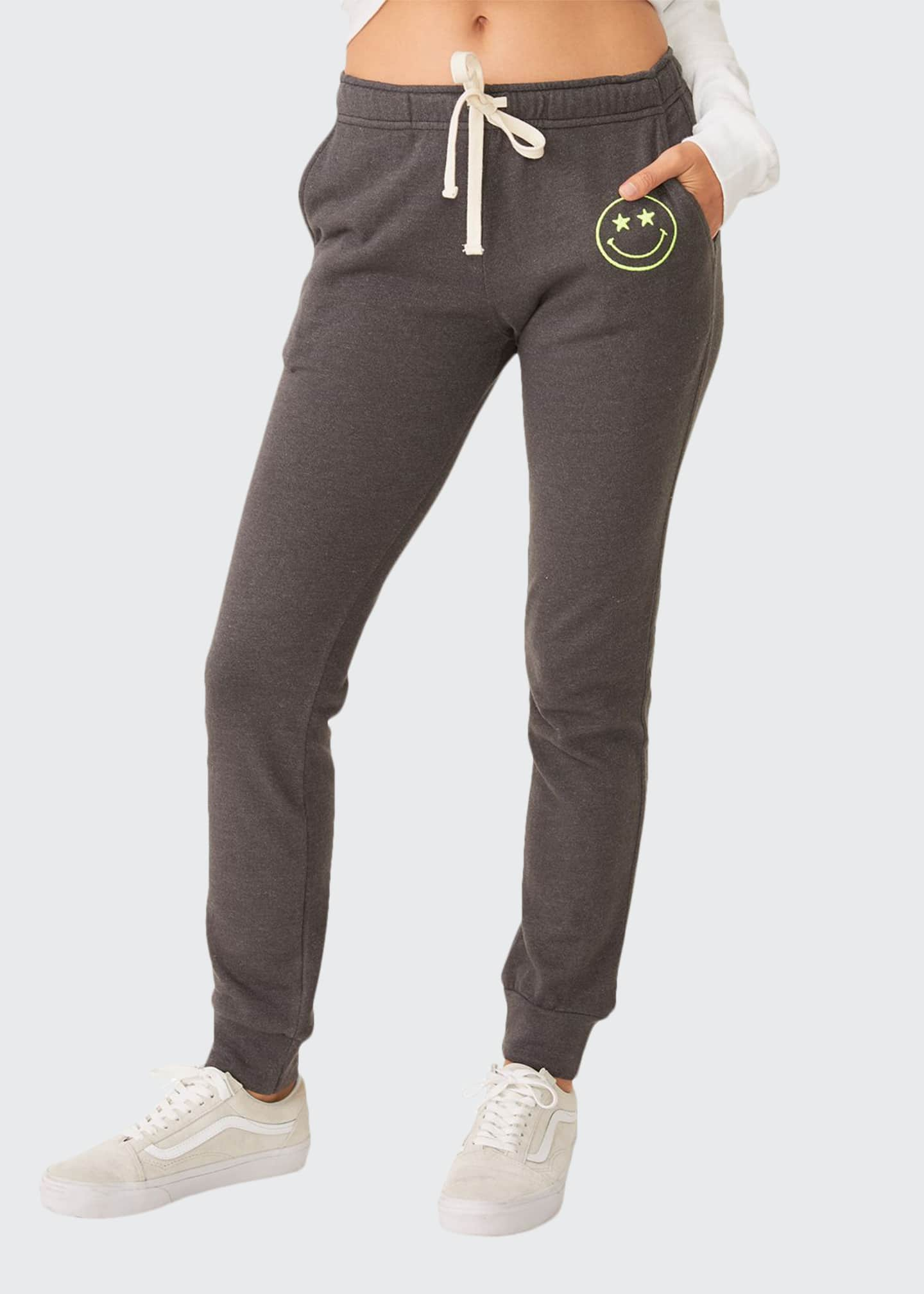 Monrow Girlfriend Drawstring Sweatpants with Embroidered Smiley
