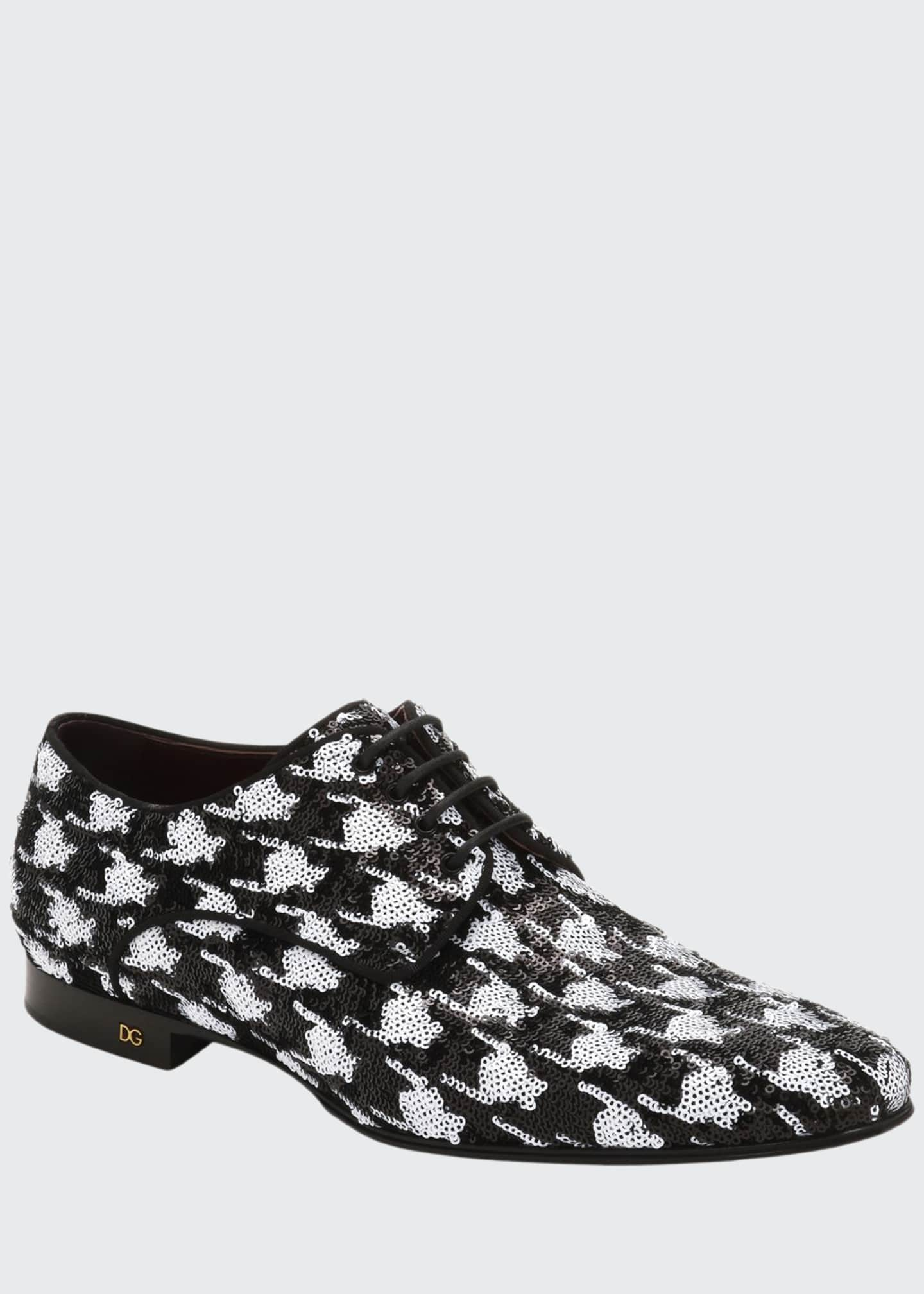 Image 1 of 3: Men's Two-Tone Patterned Sequin Derby Shoes