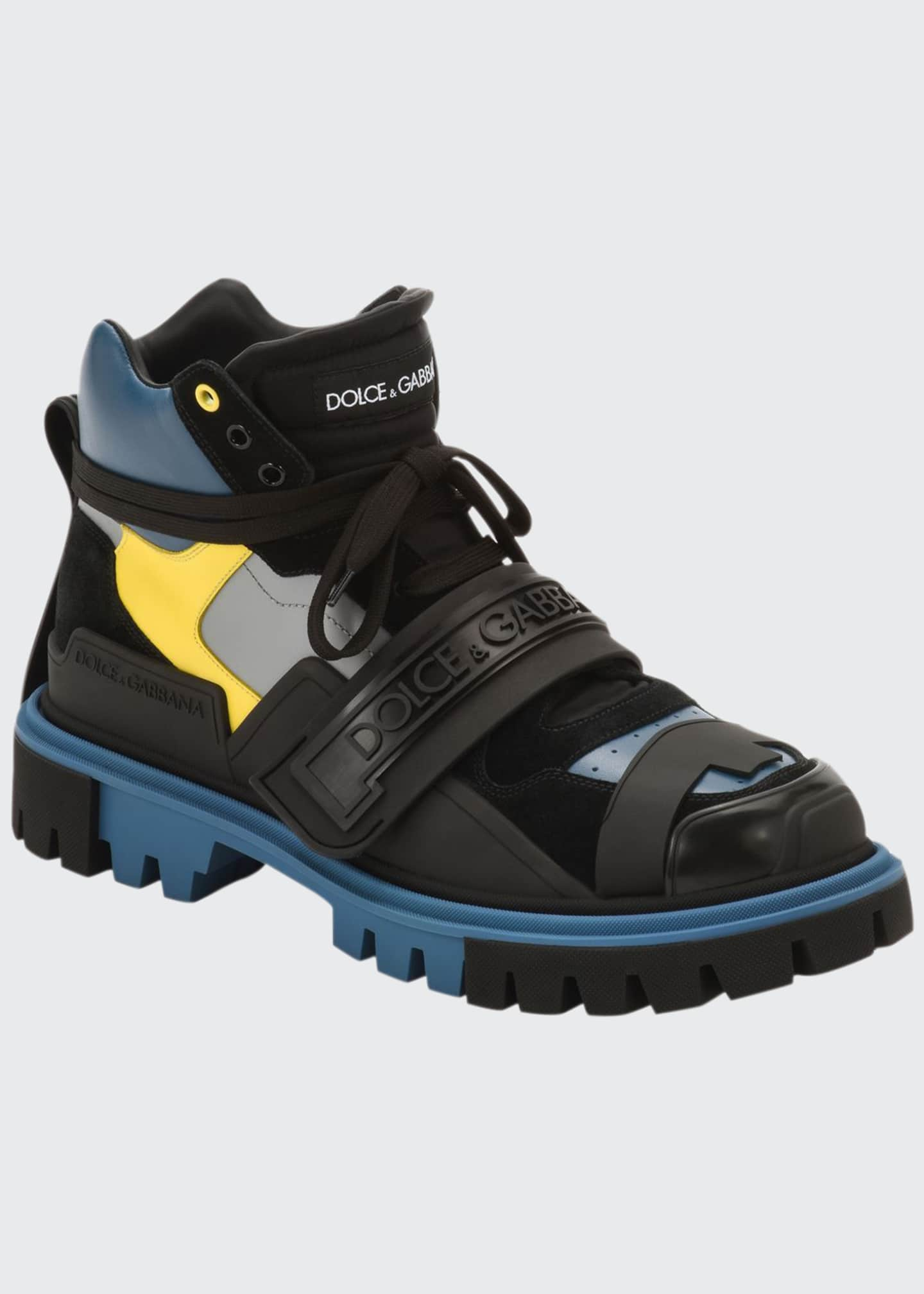 Dolce & Gabbana Men's Colorblock Leather Hiking Boots