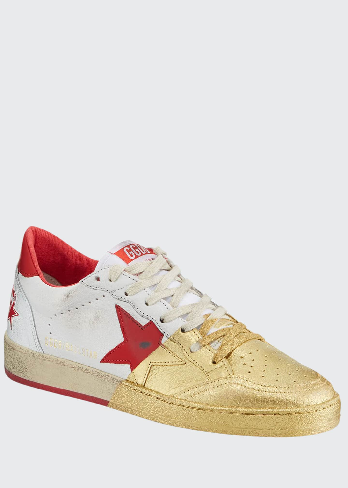 Golden Goose Men's Ball Star Distressed Leather Sneakers