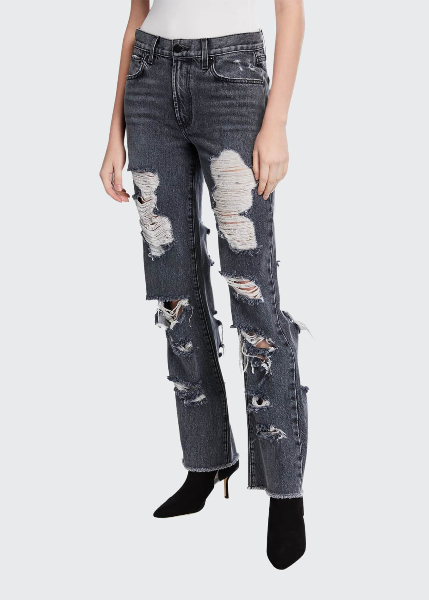 Alice + Olivia Genevive Extreme Distressed Girlfriend Jeans