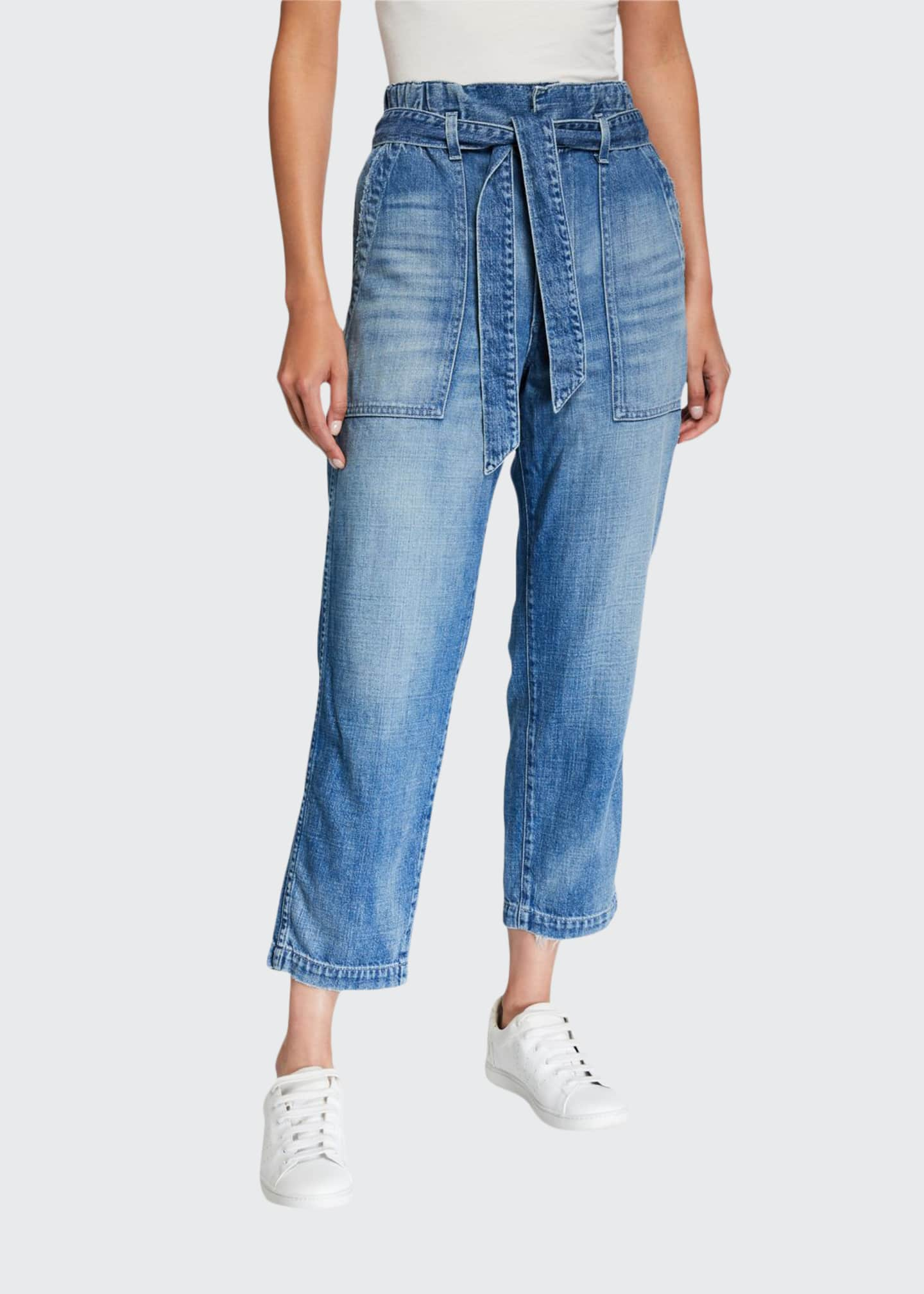 AMO Denim Belted Straight-Leg Paperbag Cropped Jeans