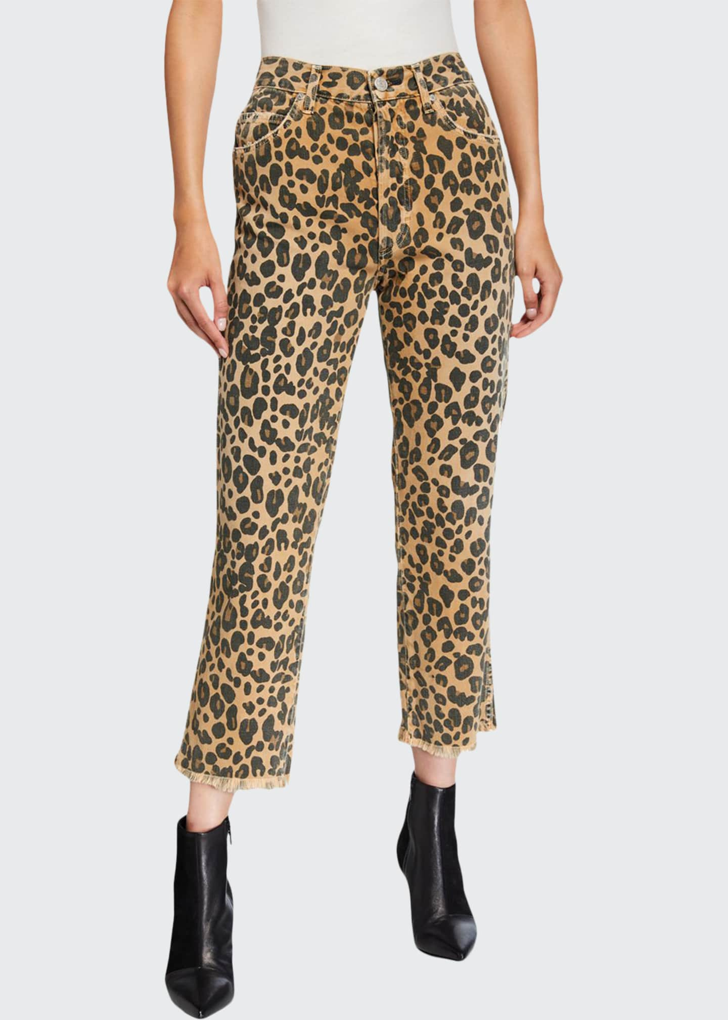 AMO Denim Loverboy Leopard-Print Relaxed Cropped Straight Jeans
