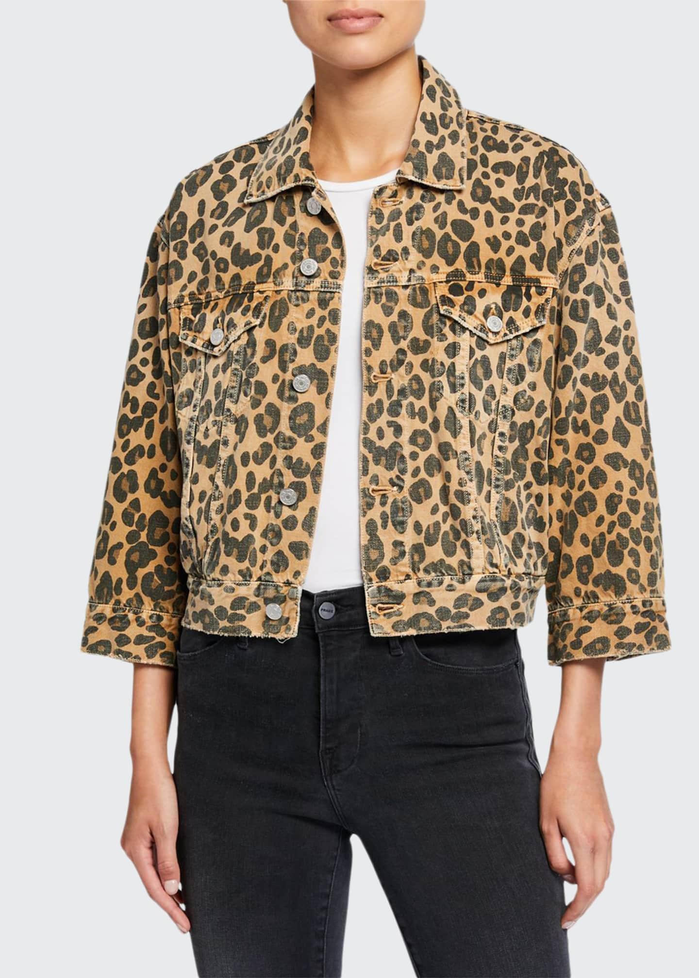 AMO Denim Lulu Cropped Leopard-Print Jacket