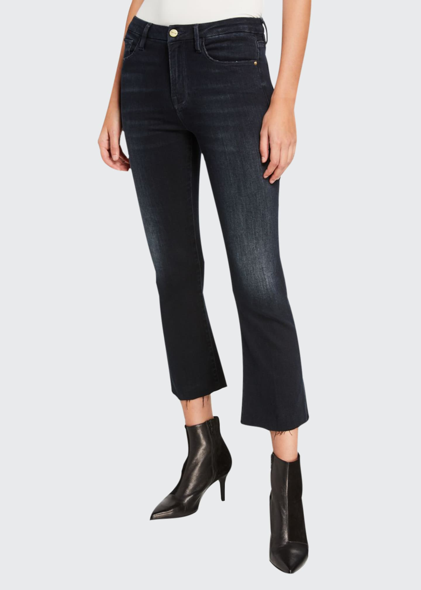 Image 1 of 3: Le Crop Mini Boot-Cut Jeans with Raw Hem