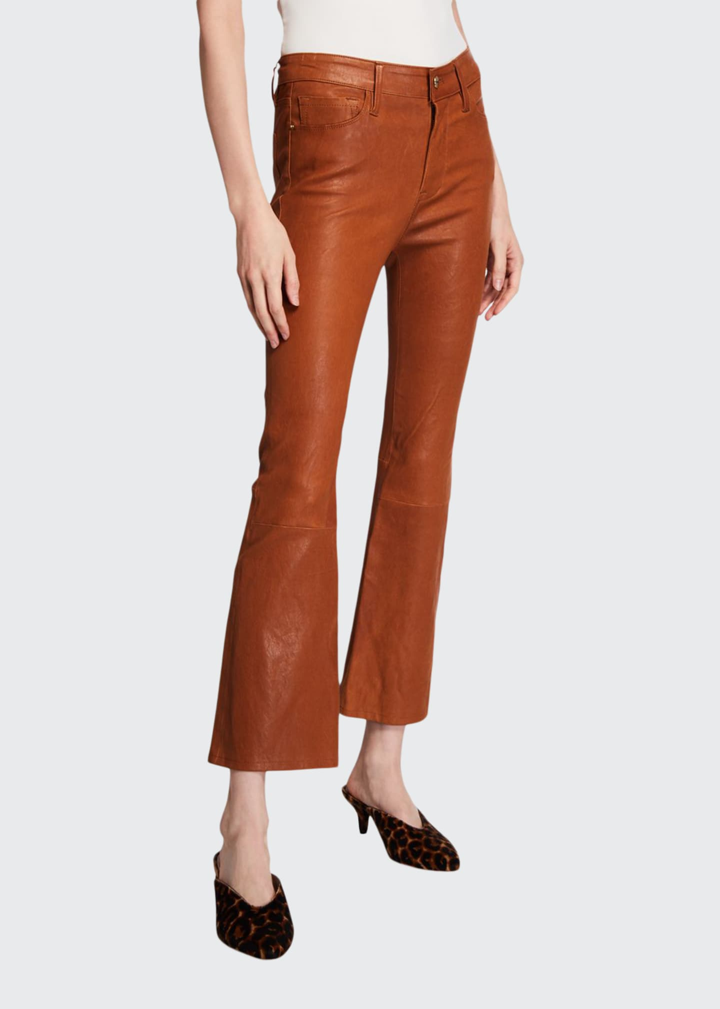 Image 1 of 3: Le Crop Mini Boot-Cut Leather Pants