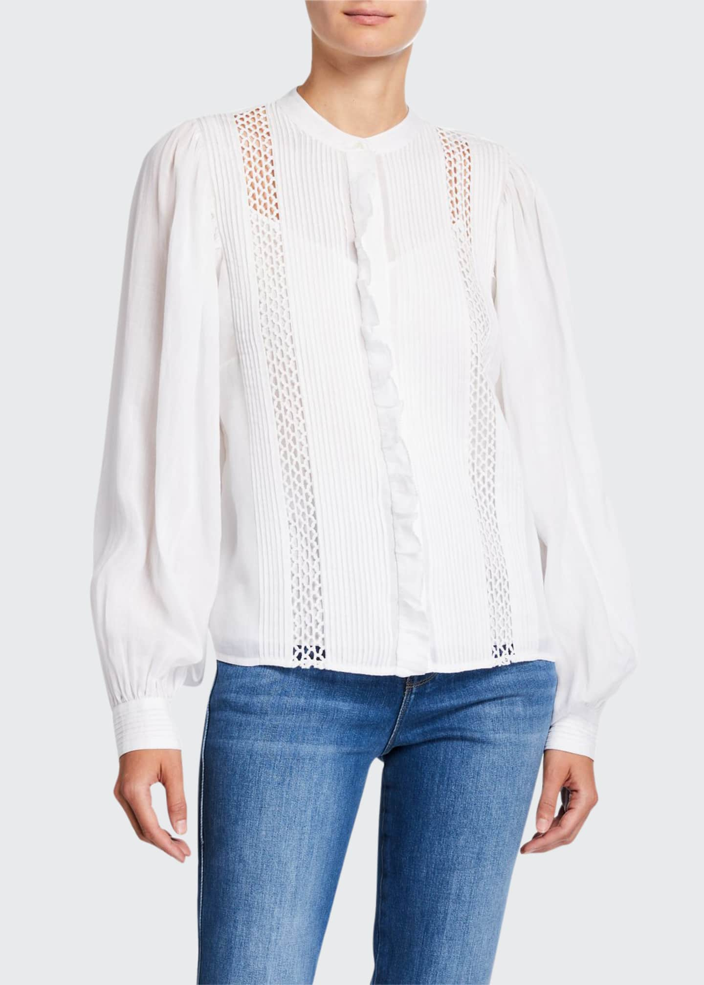 FRAME Long-Sleeve Pintucked Blouse with Lace Insets