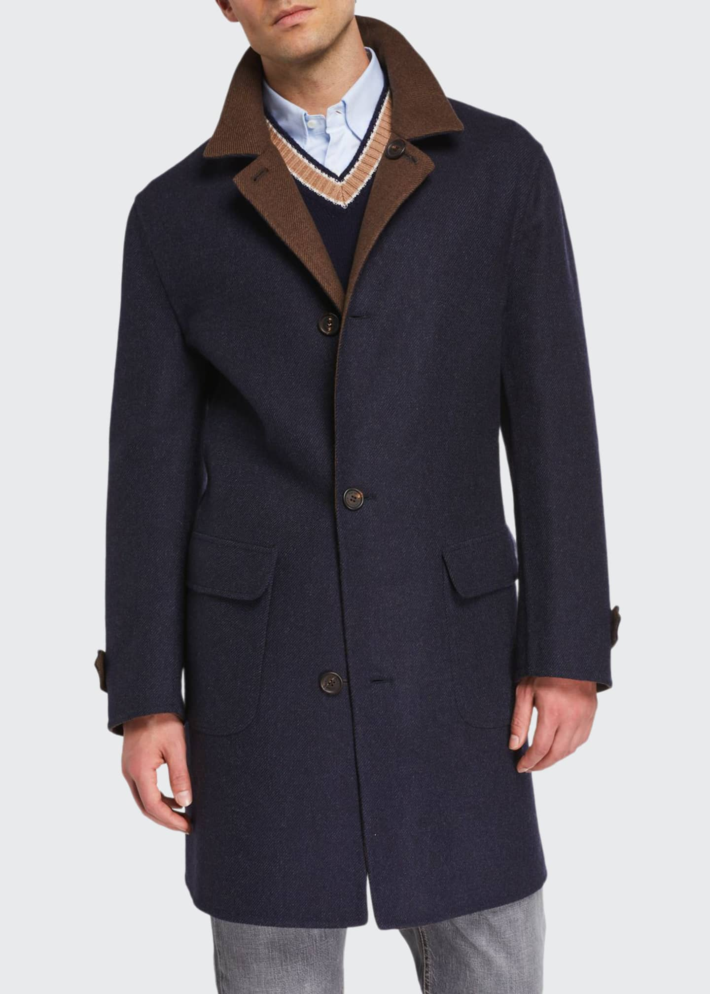 Brunello Cucinelli Men's Reversible Wool Topcoat
