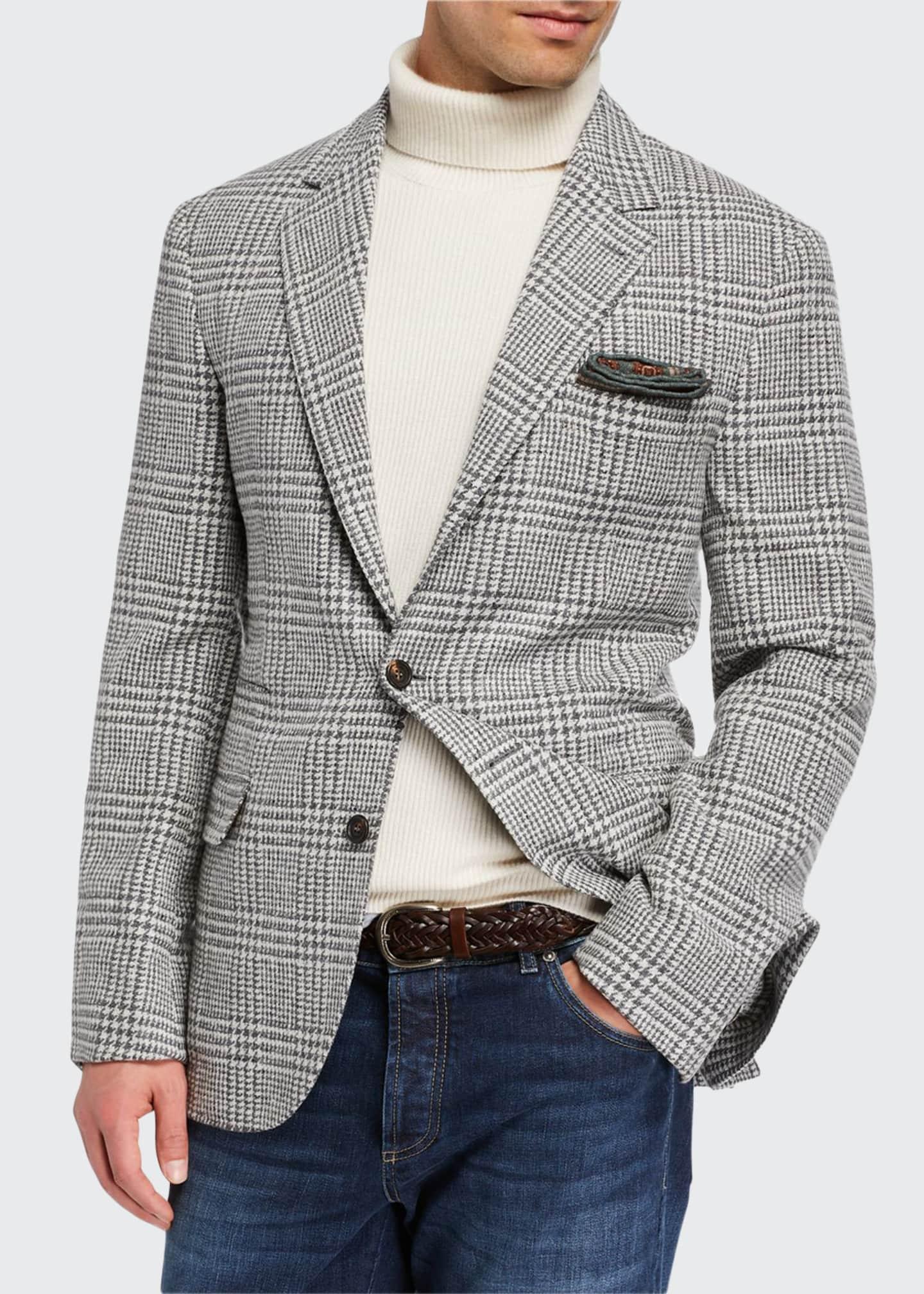 Brunello Cucinelli Men's Notch-Lapel Plaid Two-Button Jacket