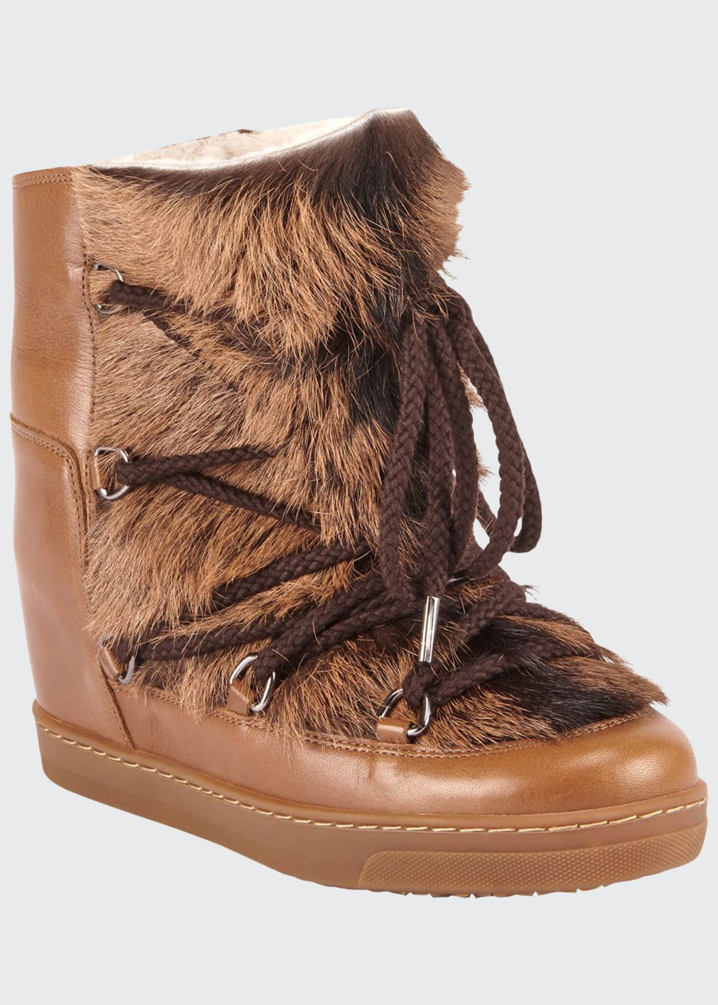 Isabel Marant Nowles Shearling-Lined Lace-Up Booties