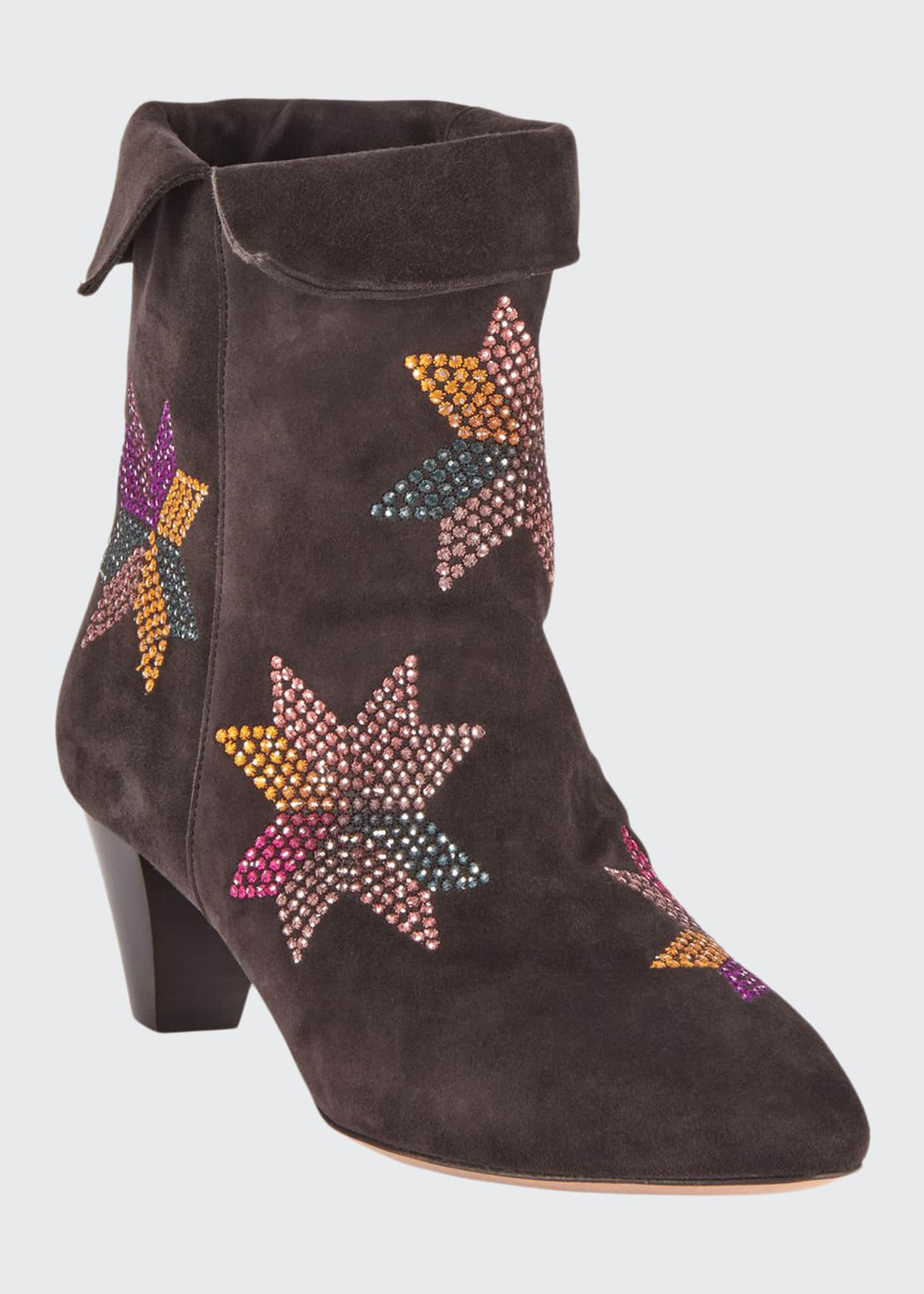 Image 1 of 4: Dyna Embroidered Suede Ankle Boots