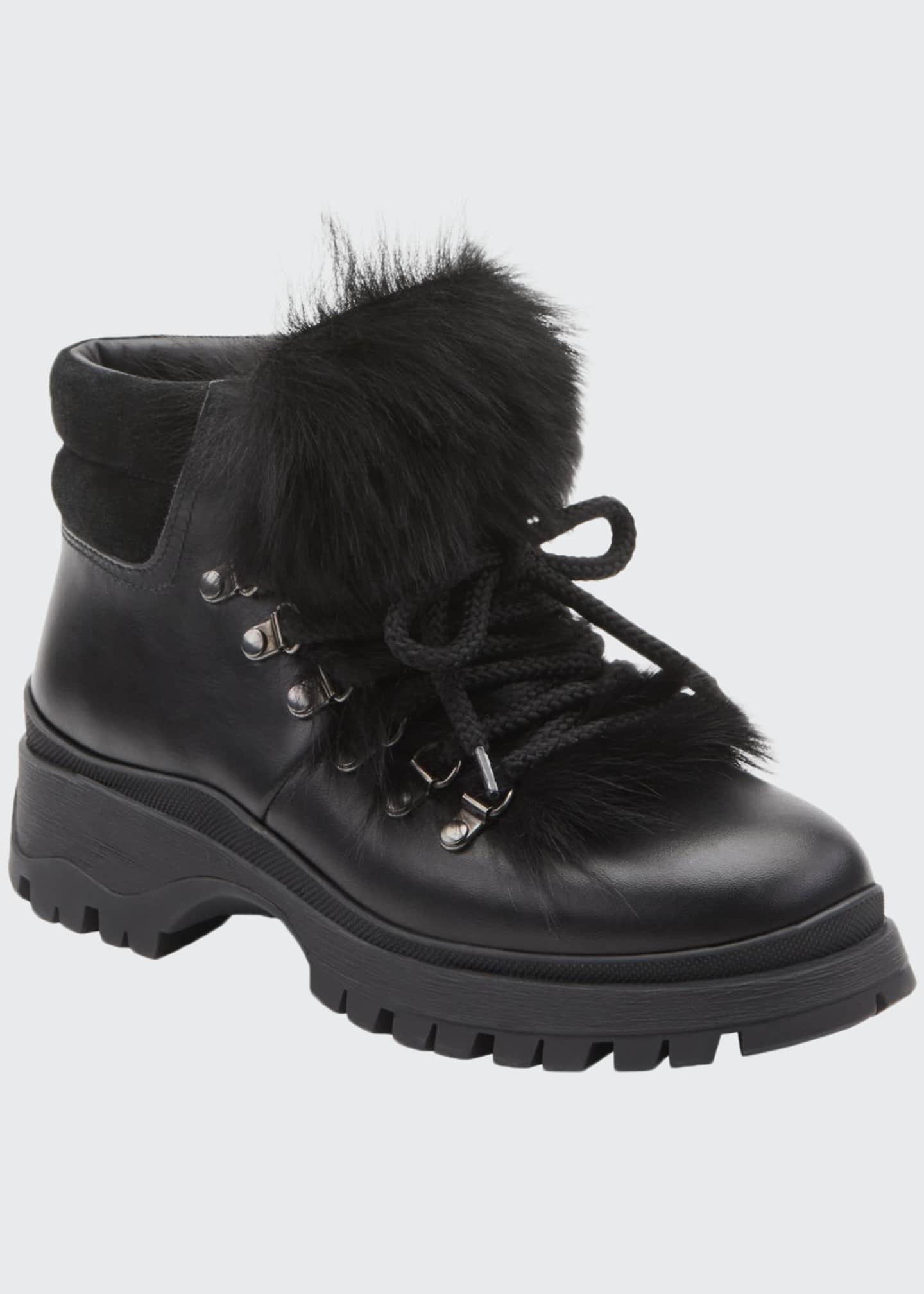 Prada Lug-Sole Hiker Boots with Fur Trim