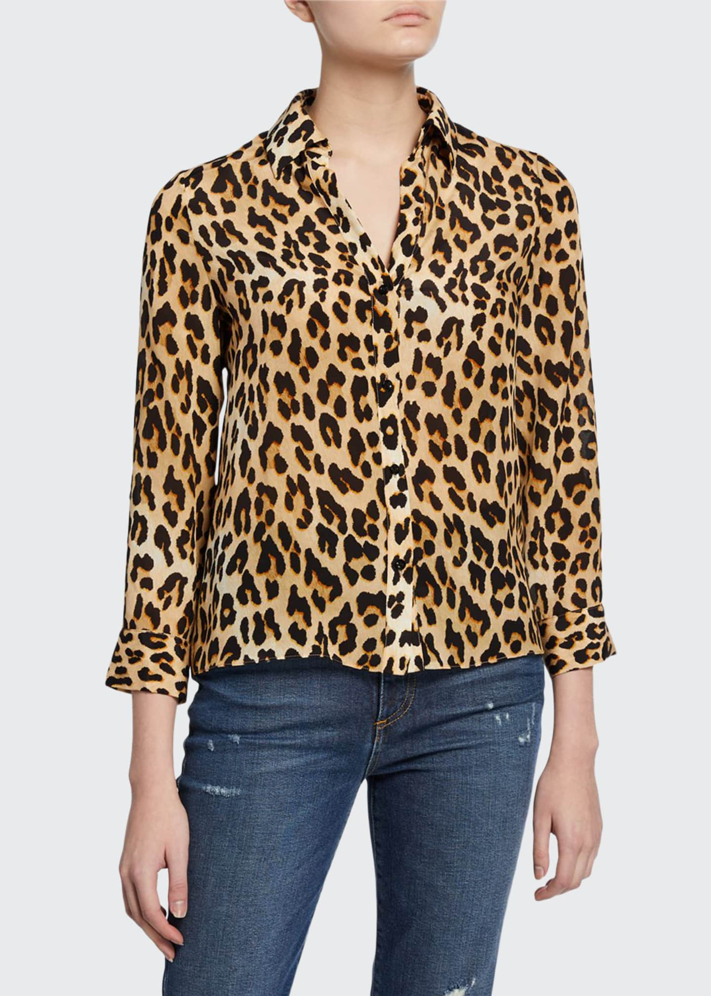 Image 1 of 2: Eloise Silk Button-Down Blouse