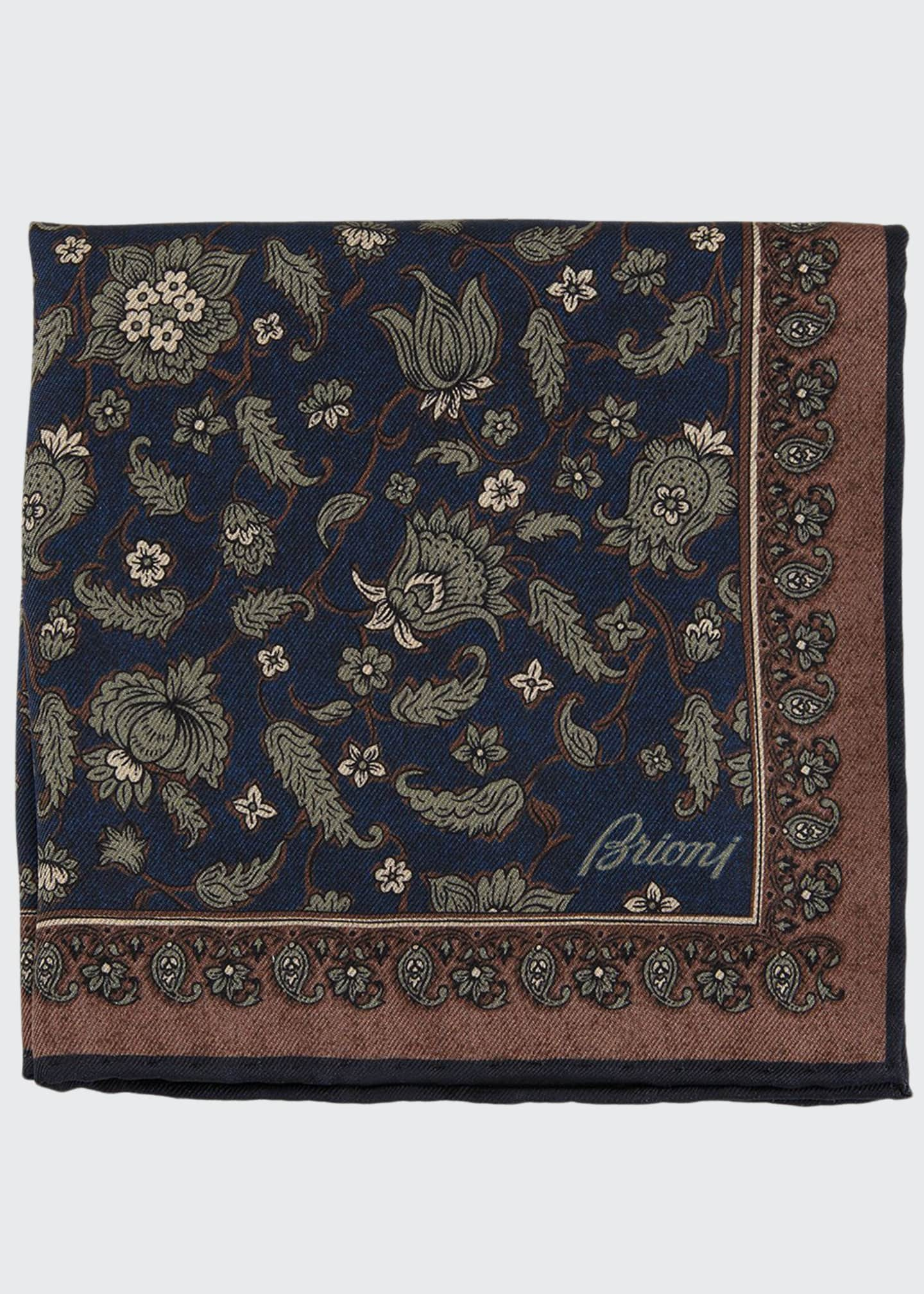 Brioni Floral Paisley Silk Pocket Square