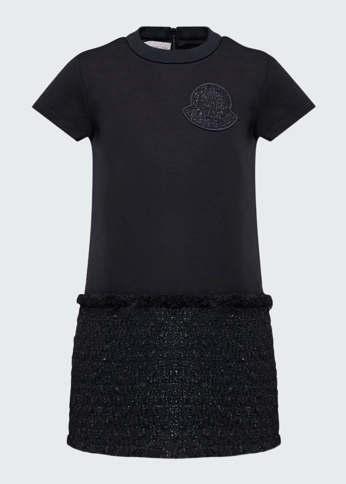 Moncler Girl's Short-Sleeve Metallic Skirt Fringe Dress, Size