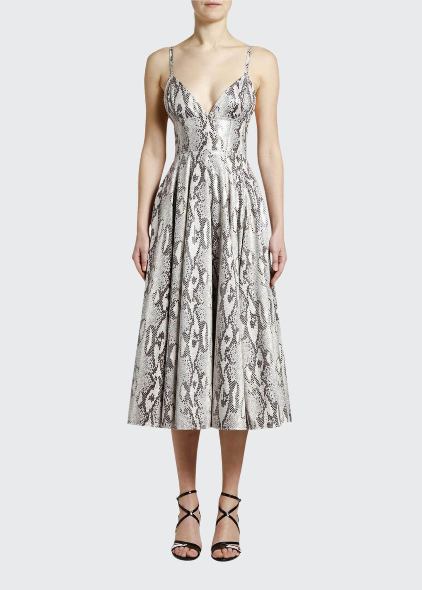 MSGM Python-Print Sleeveless Midi Dress