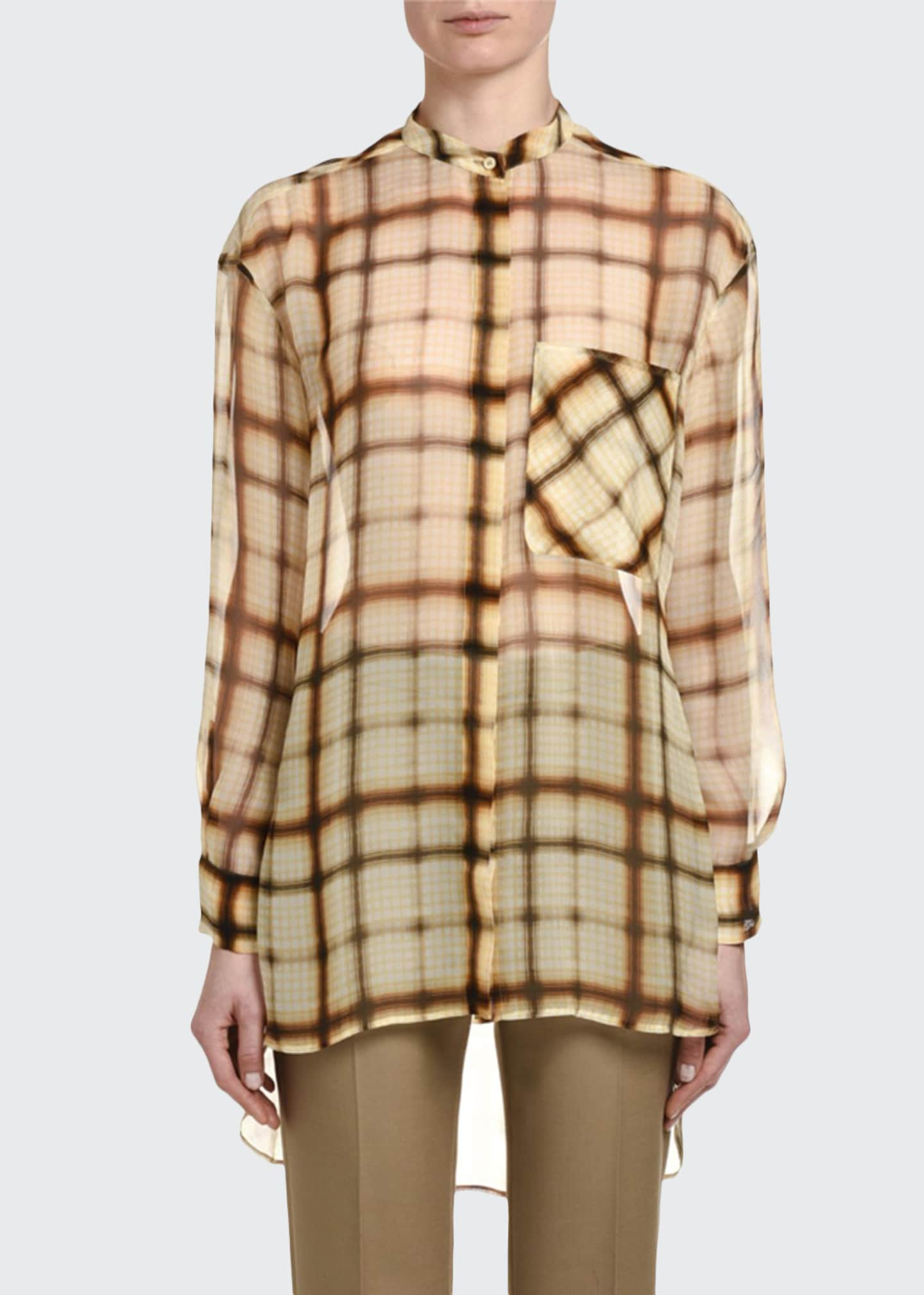 Image 1 of 2: Plaid Silk Chiffon Button-Front Oversized Blouse
