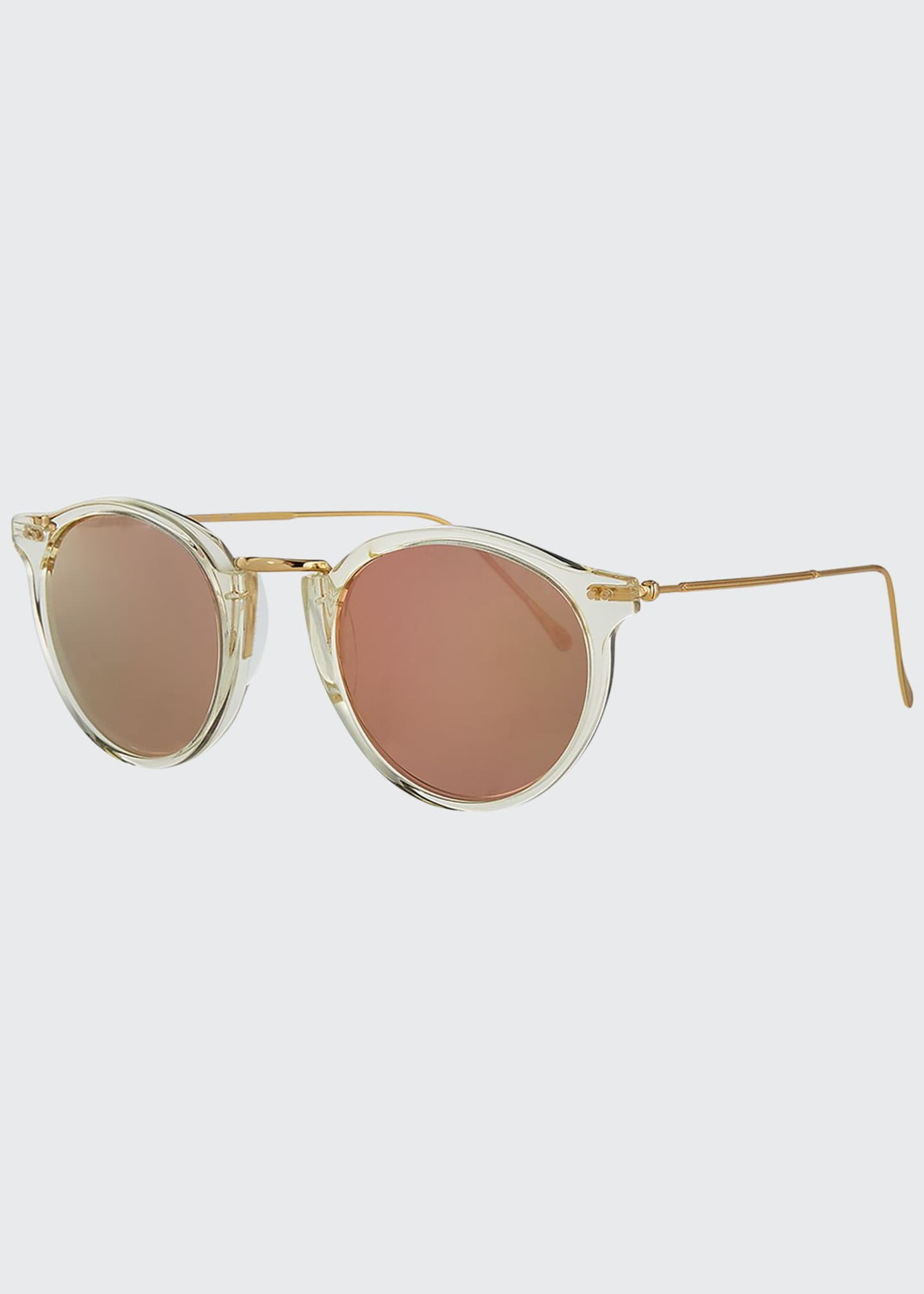 Image 1 of 3: Round Mirrored Metal & Acetate Sunglasses