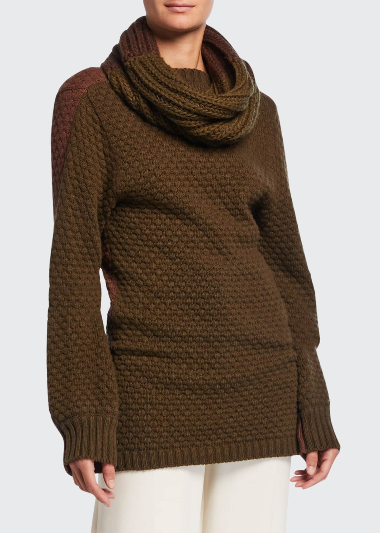 Johanna Ortiz Ribbed Sweater w/ Removable Self Scarf