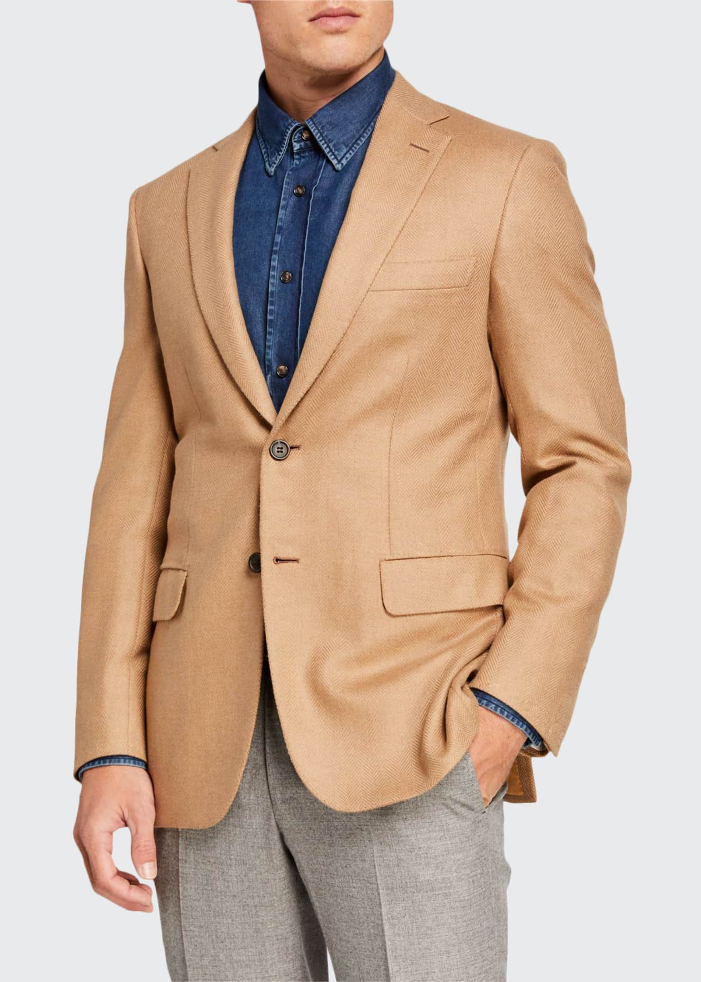 Brioni Men's Camel Herringbone Two-Button Jacket