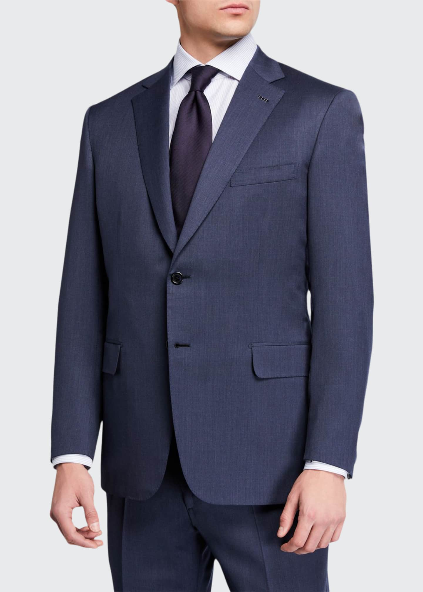 Canali Charcoal Grey Wool Classic Fit Mens Suit Size 44R US Made Italy New $1695