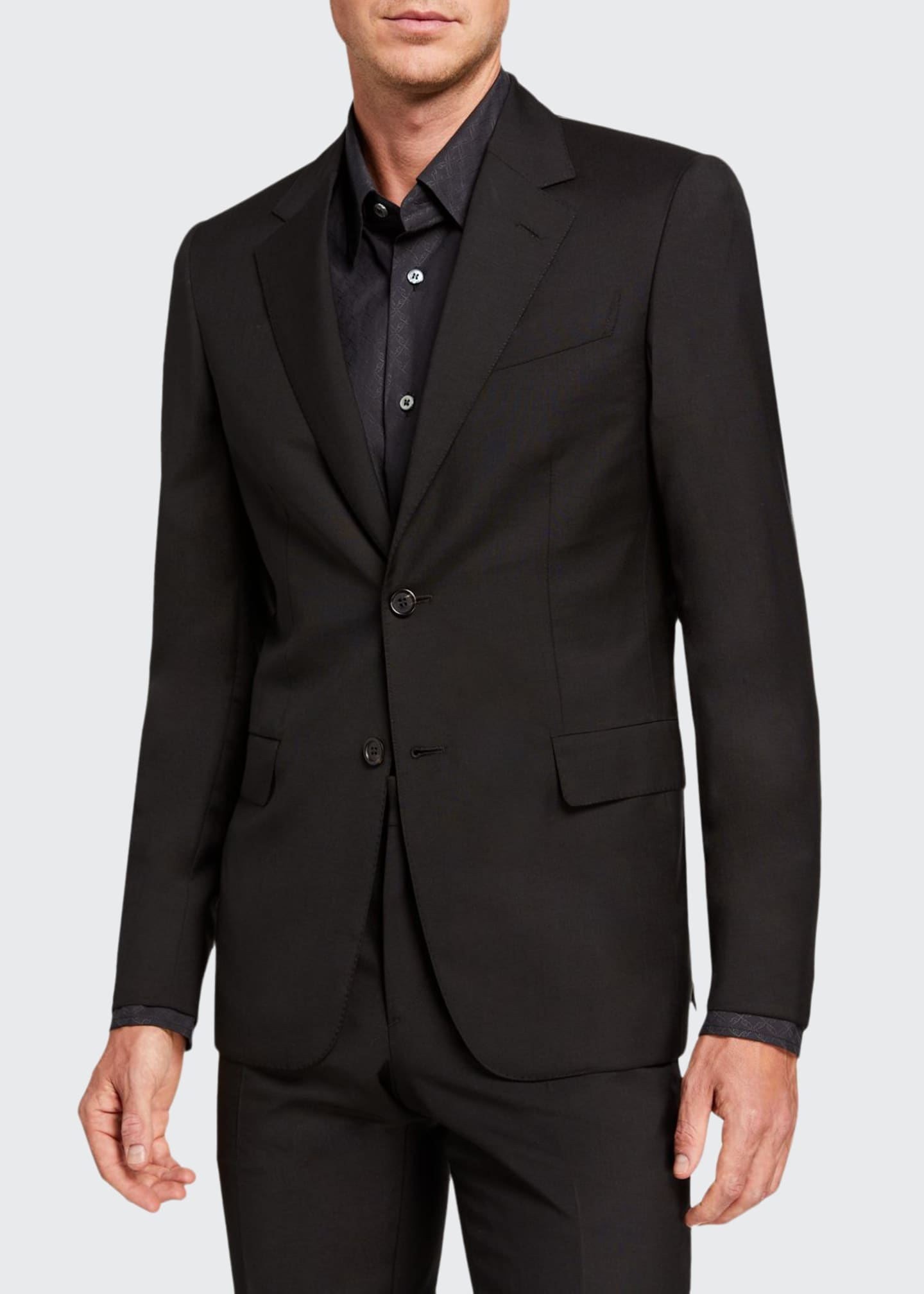 Image 1 of 4: Men's Solid Two-Piece Virgin Wool Suit