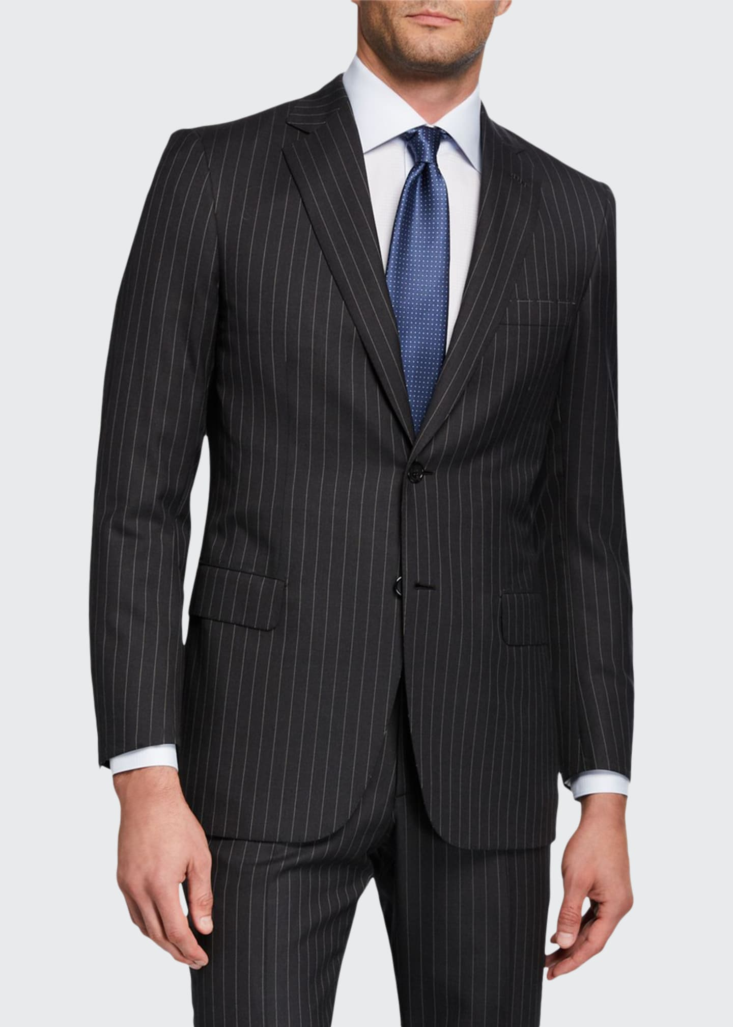 Image 1 of 5: Men's Pinstriped Two-Piece Suit